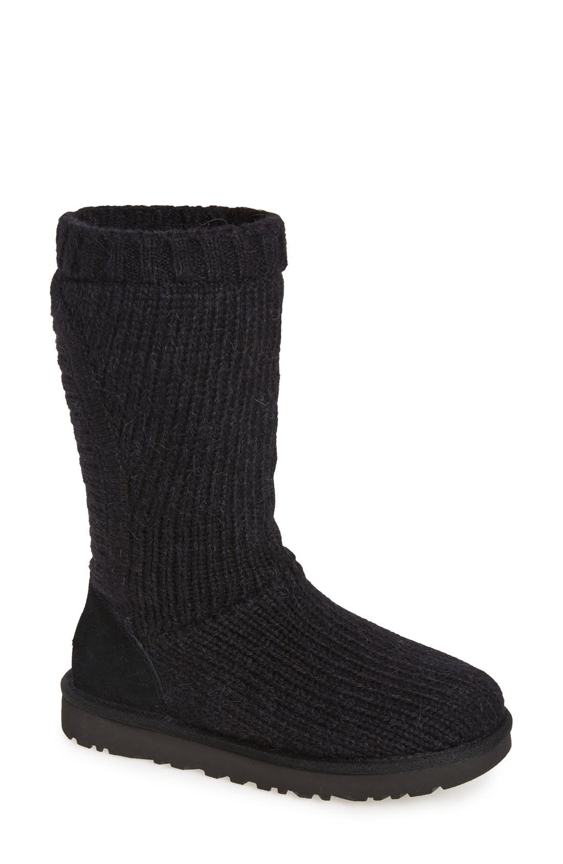 'Capra' Ribbed Knit Genuine Shearling Lined Boot, Main, color, 001