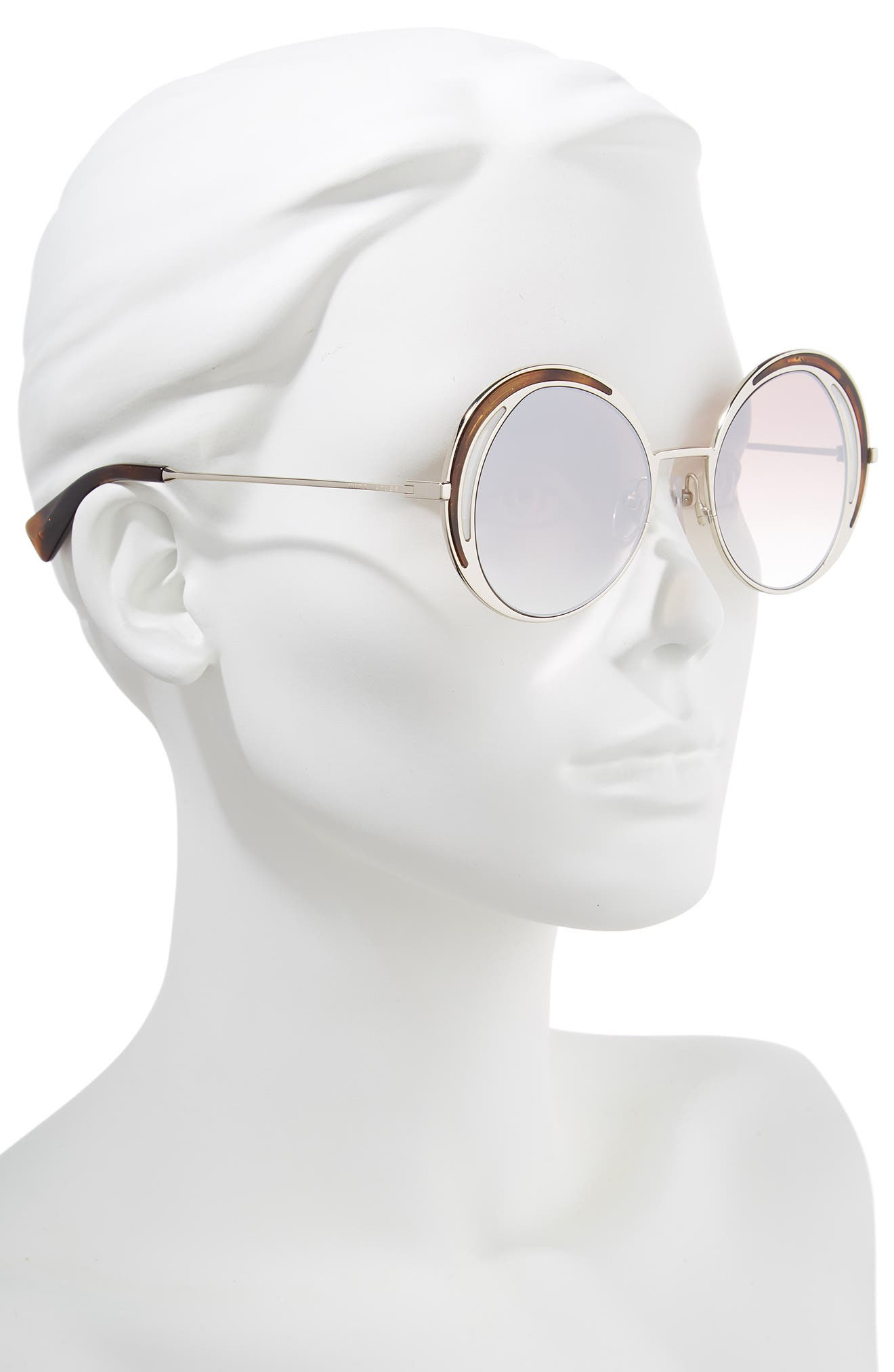 MARC JACOBS,                             51mm Round Sunglasses,                             Alternate thumbnail 2, color,                             DARK HAVANA/ GOLD
