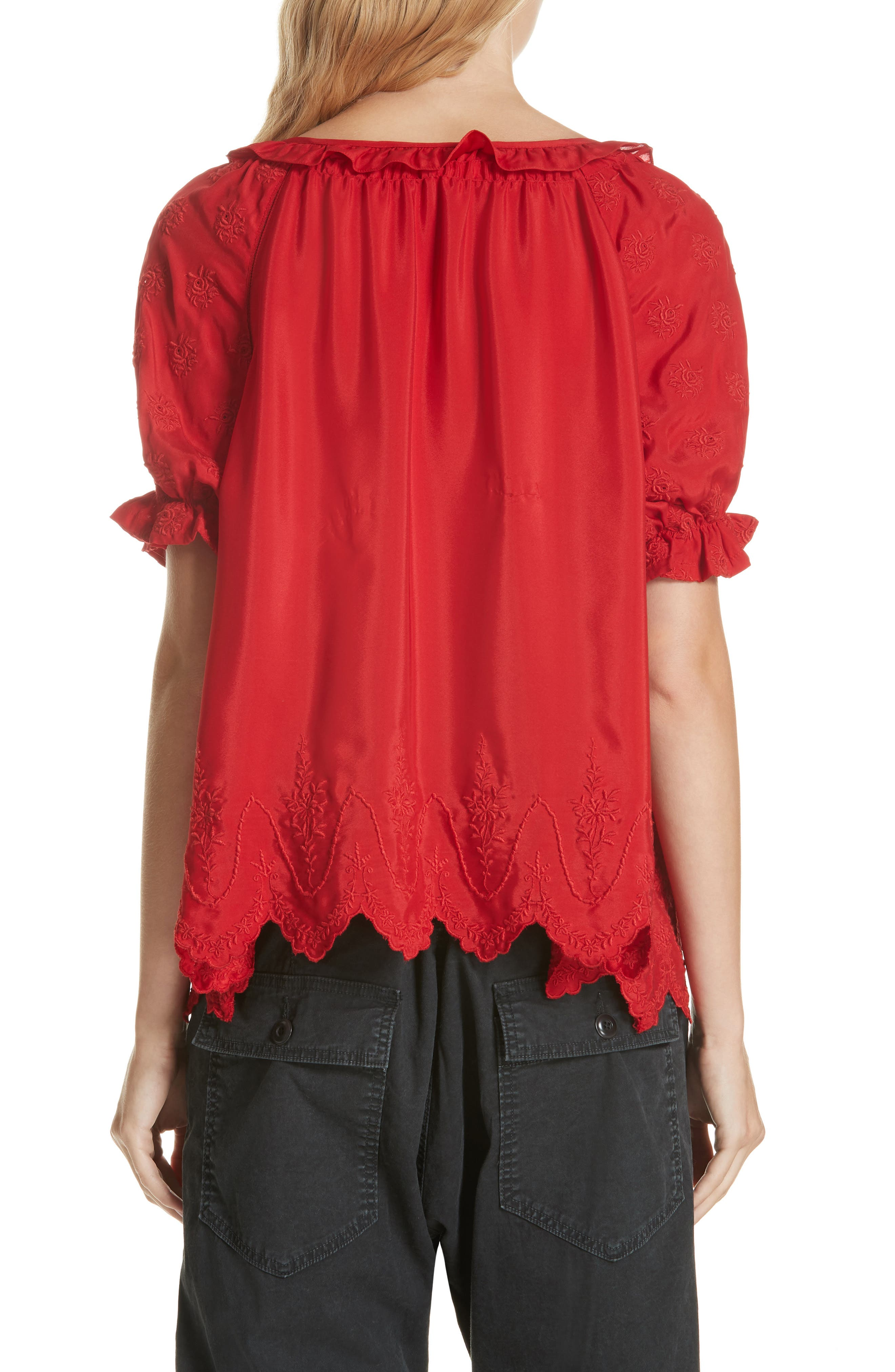 Wish Embroidered Silk Top,                             Alternate thumbnail 2, color,                             VALENTINE