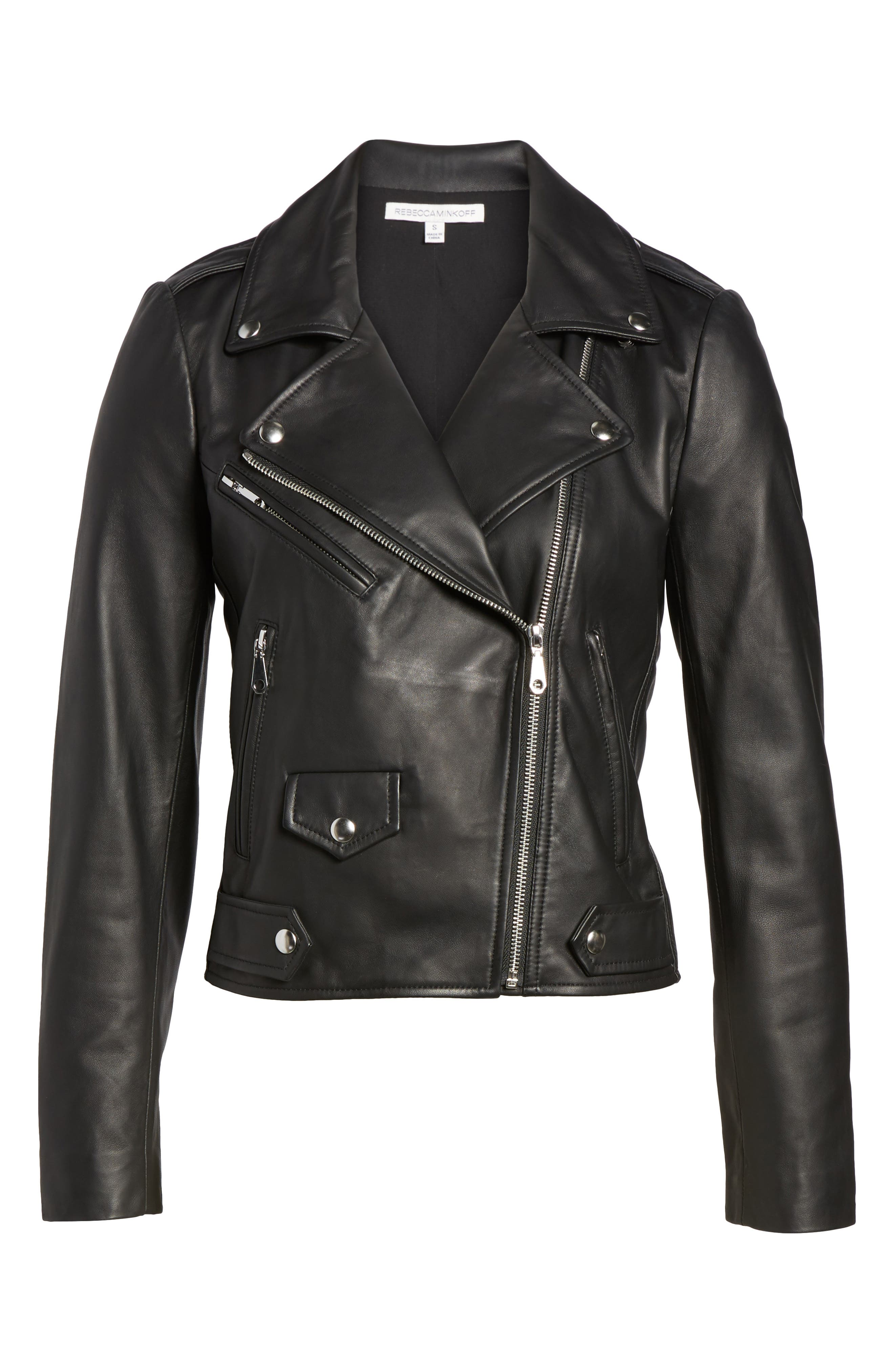 Wes Leather Moto Jacket,                             Alternate thumbnail 6, color,                             002