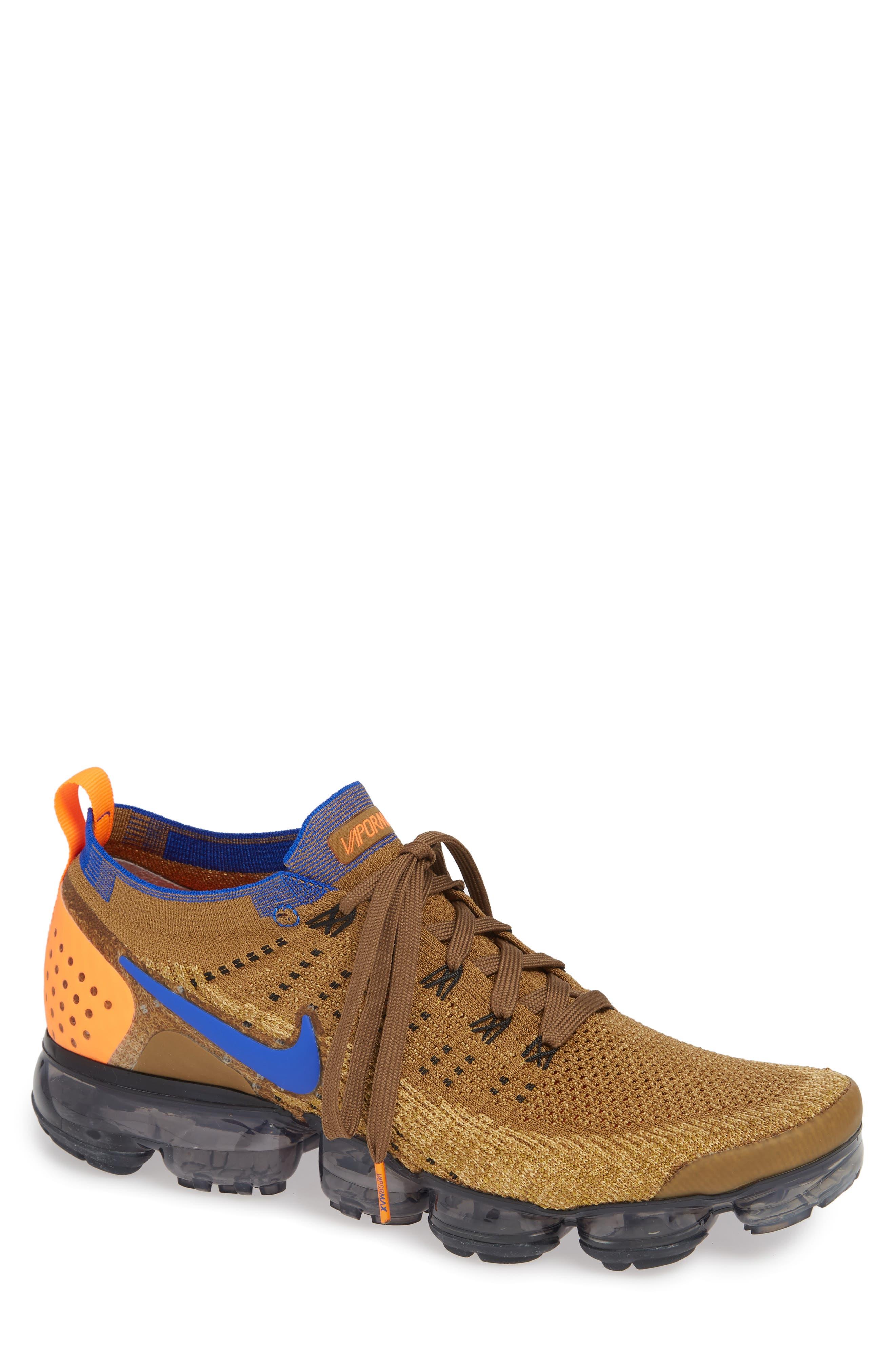 Air Vapormax Flyknit 2 Running Shoe,                         Main,                         color, GOLDEN BEIGE/ RACER BLUE/ GOLD
