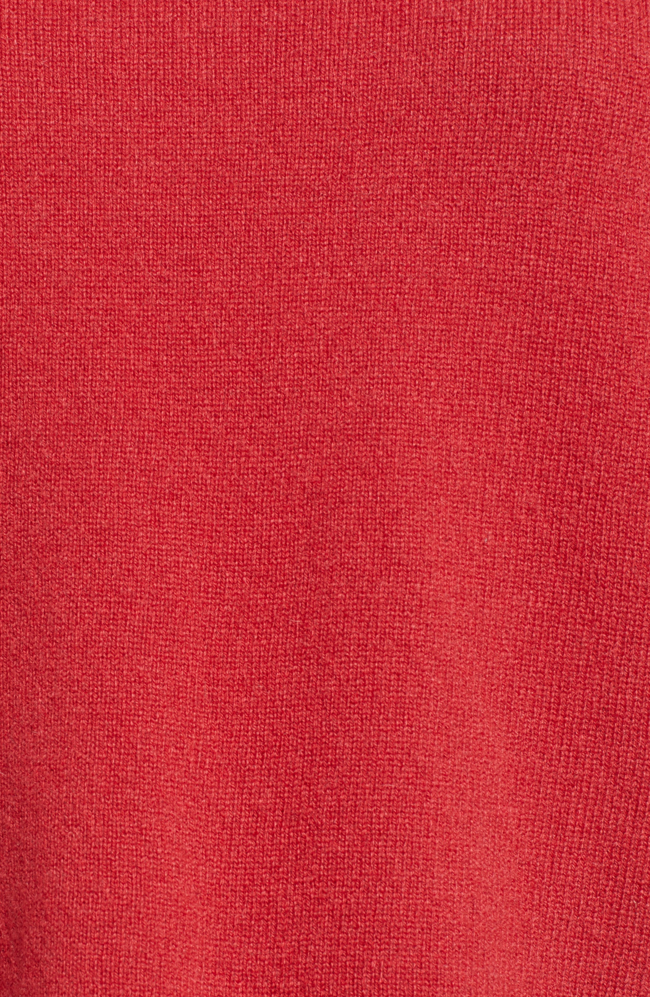Cashmere Tie Sleeve Sweater,                             Alternate thumbnail 5, color,                             SNAPPER