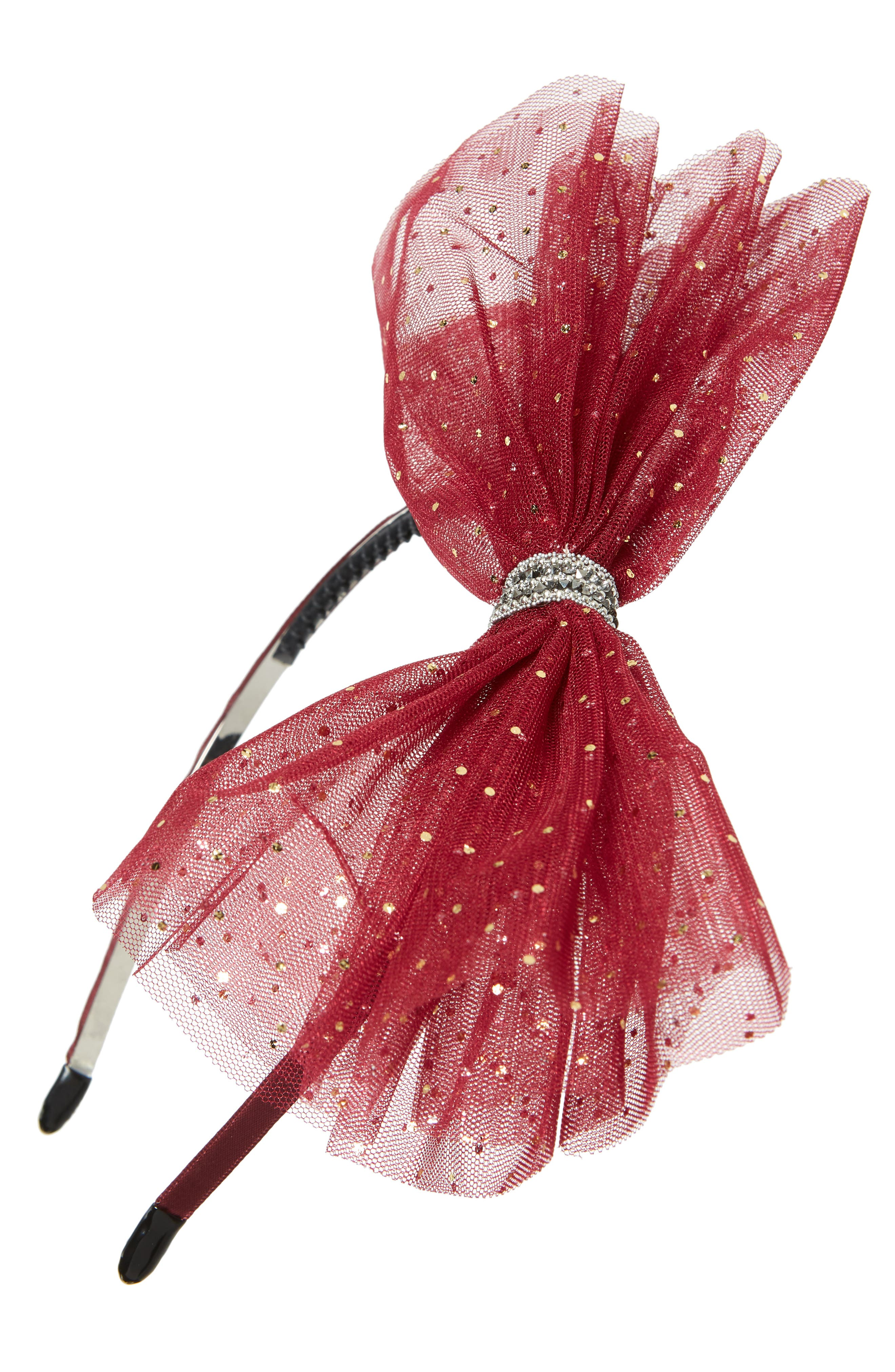 Manière Sparkle Spot Tulle Headband,                             Main thumbnail 1, color,                             RED