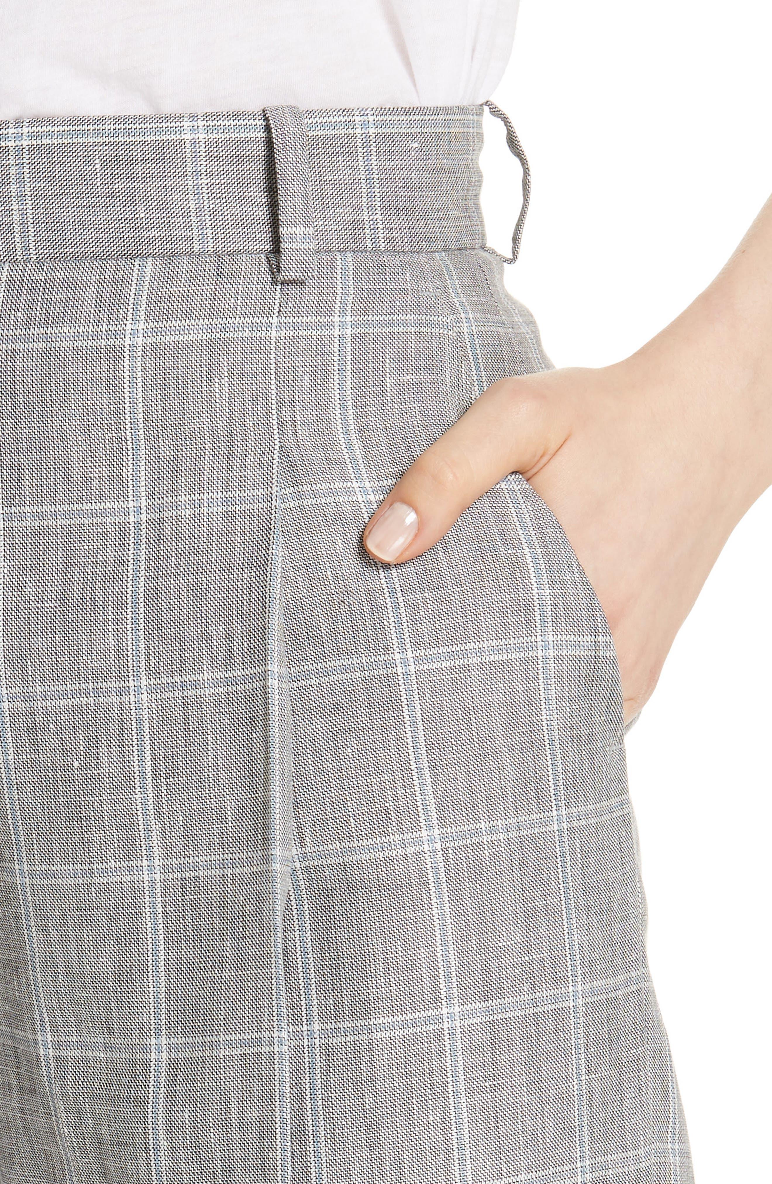 Check Wide Leg Crop Pants,                             Alternate thumbnail 4, color,                             020