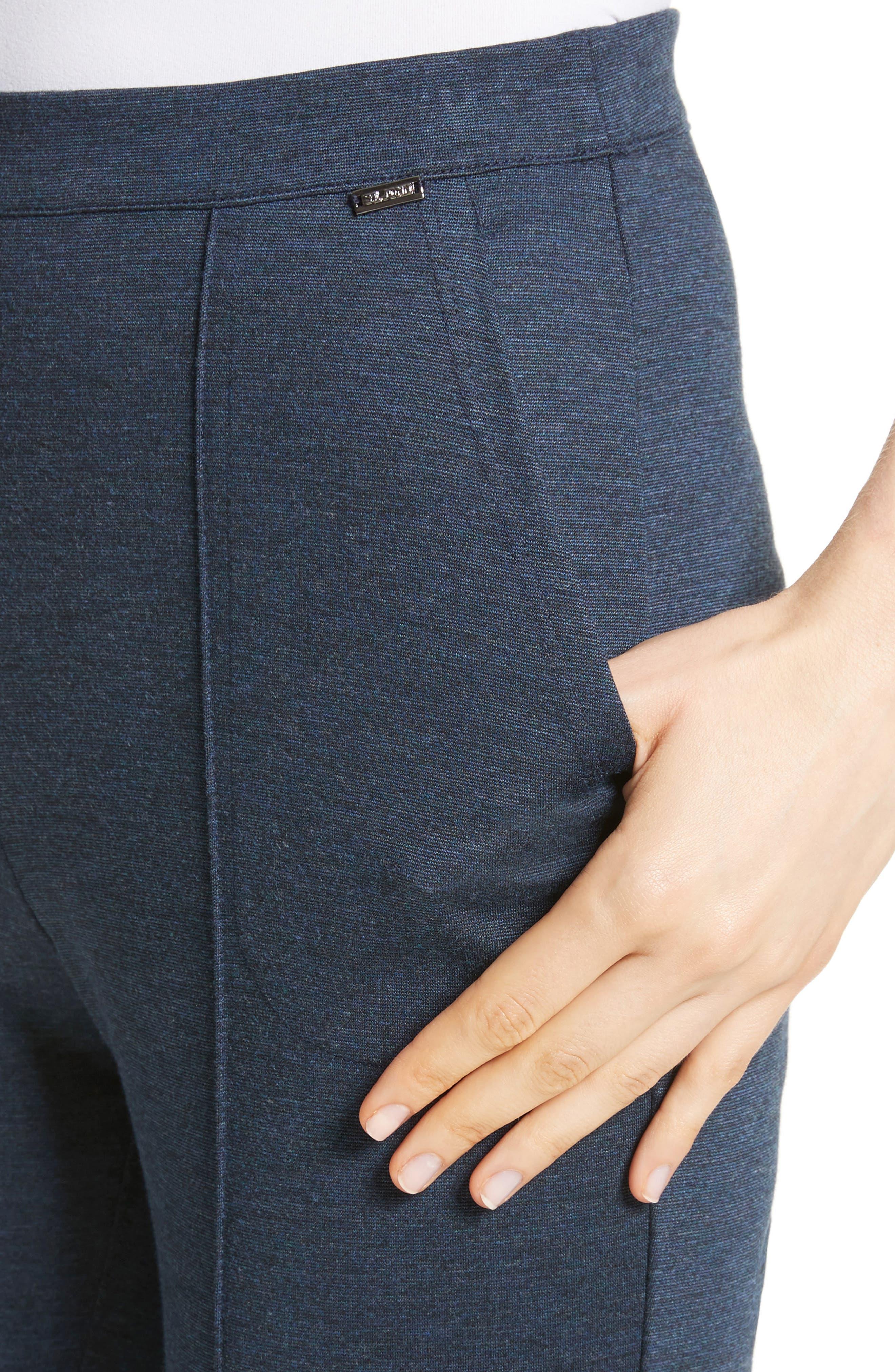 Mélange Stretch Ponte Crop Pants,                             Alternate thumbnail 4, color,                             DARK BLUE