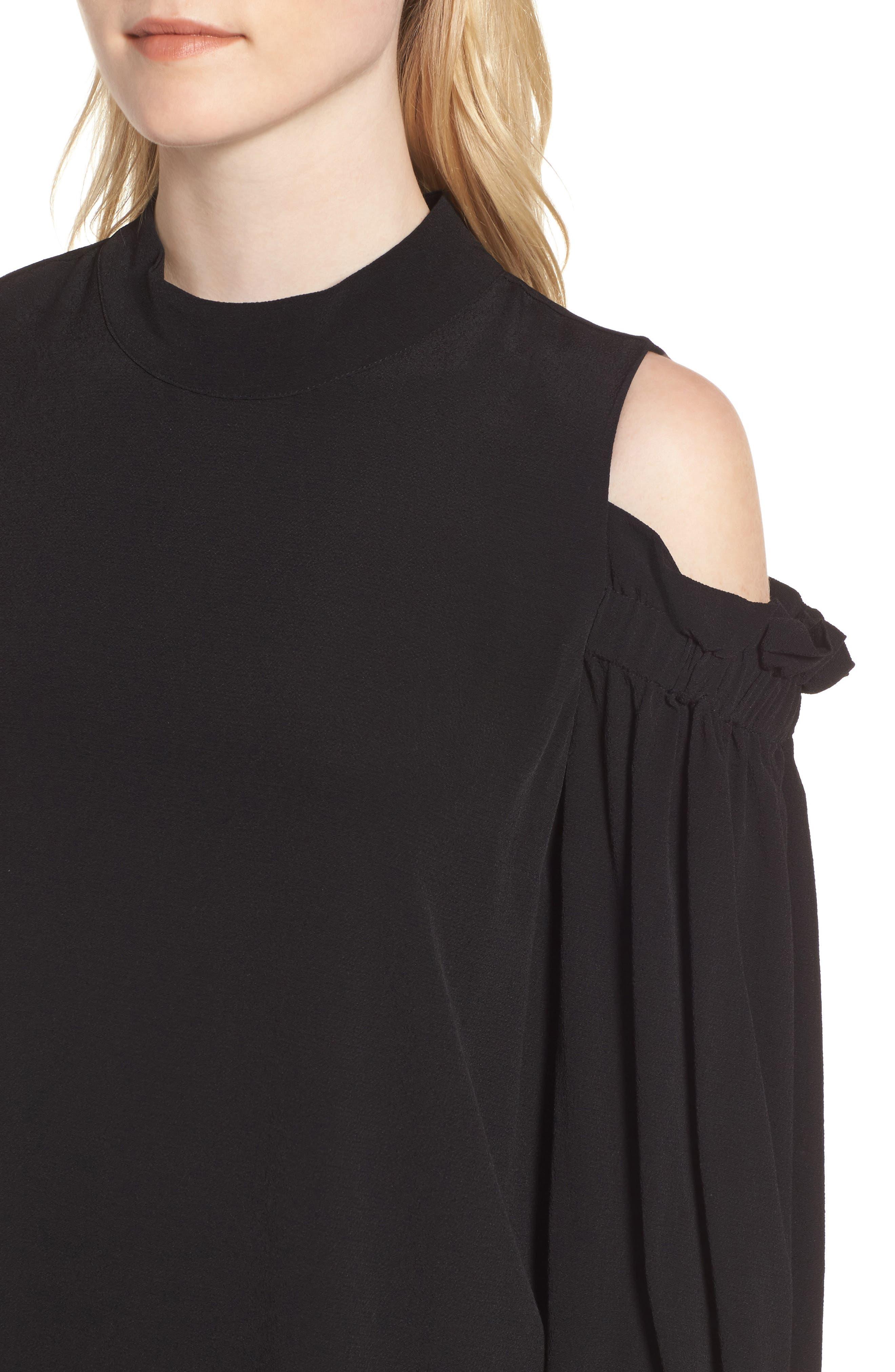 Cold Shoulder Shift Dress,                             Alternate thumbnail 4, color,                             001