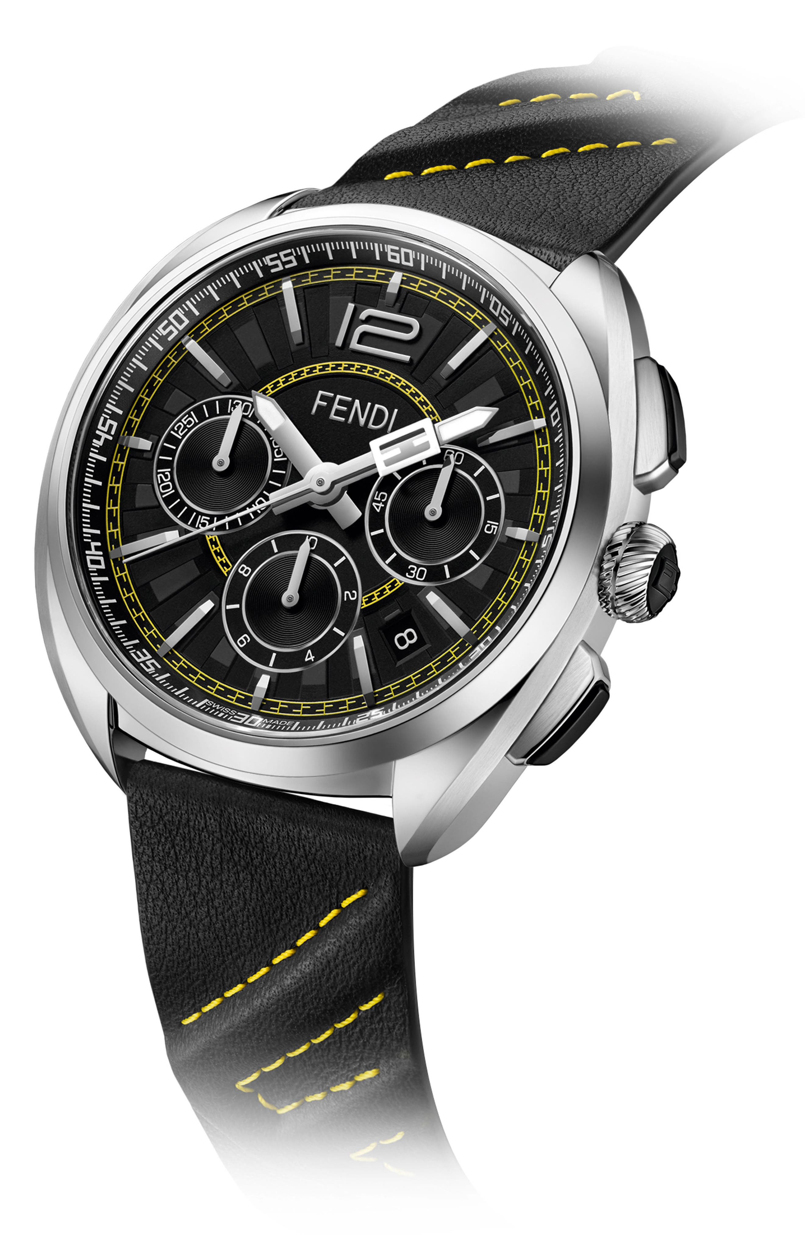 Momento Chronograph Leather Strap Watch, 46mm,                             Alternate thumbnail 2, color,                             BLACK/ SILVER