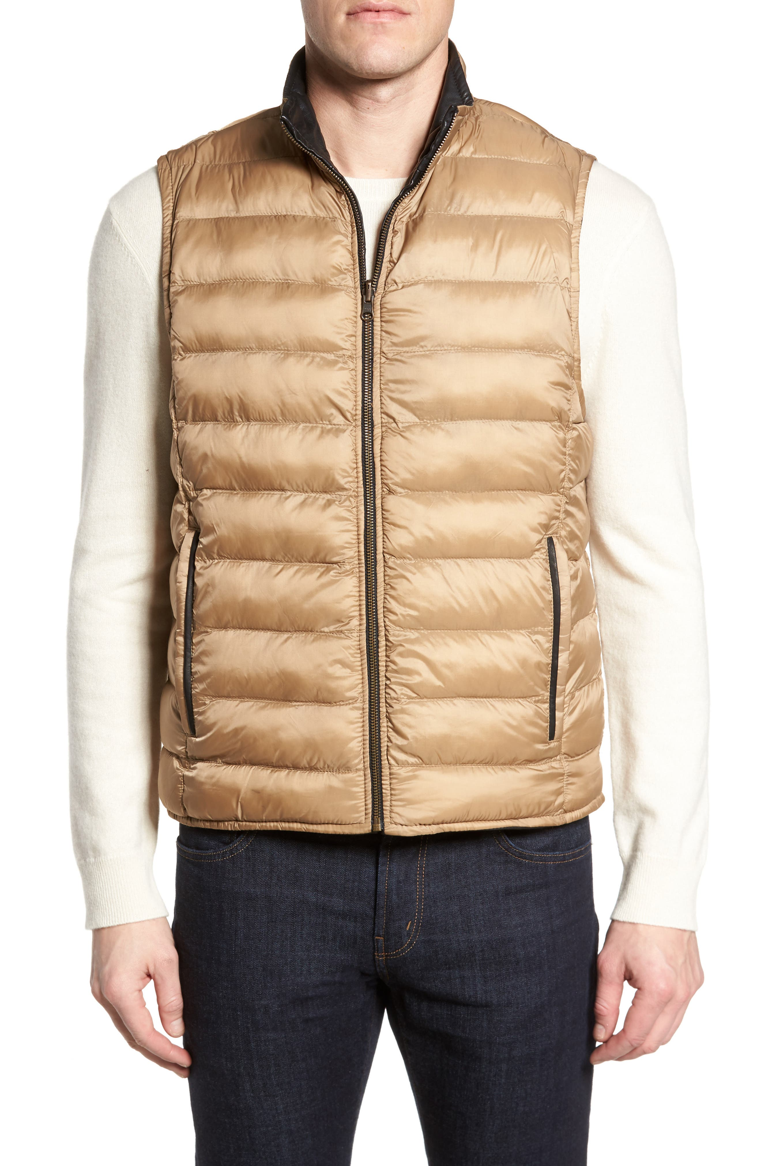 Reversible Leather Puffer Vest,                             Alternate thumbnail 2, color,                             001