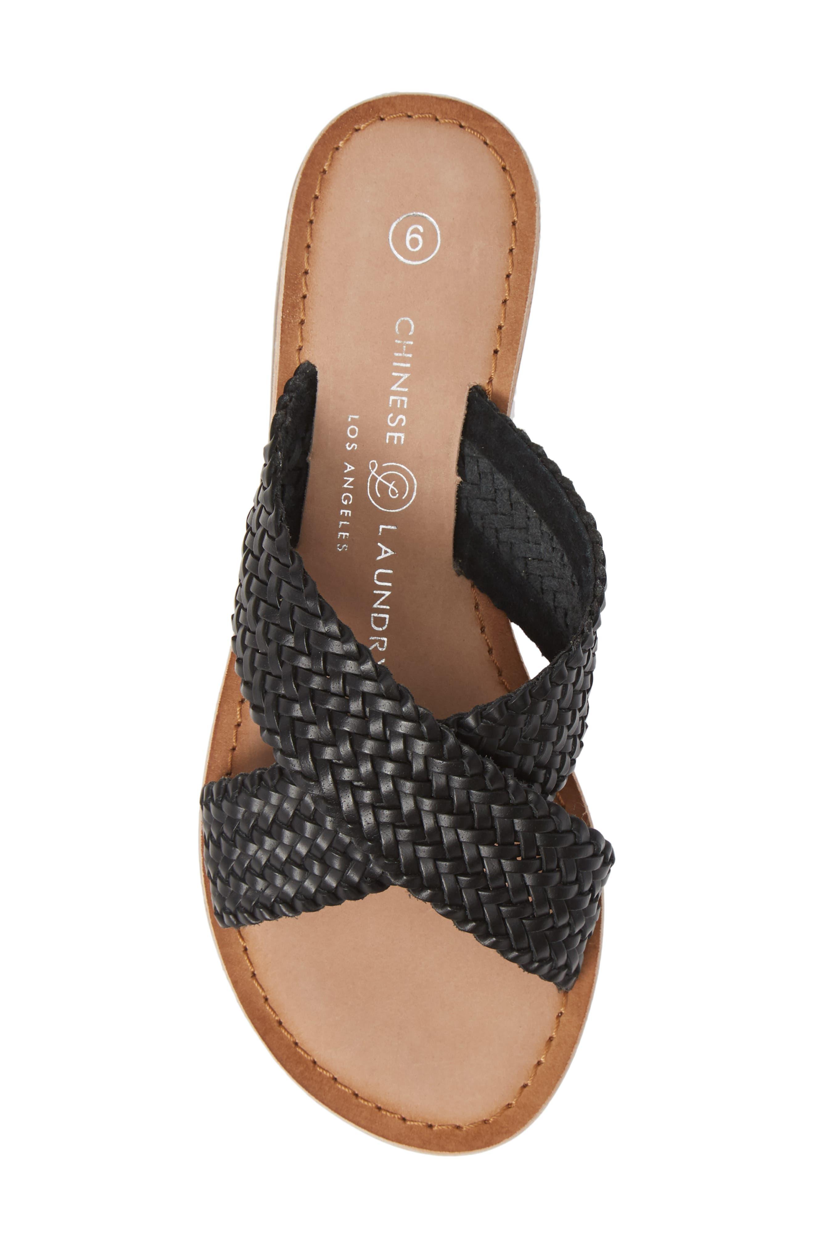 Pure Woven Slide Sandal,                             Alternate thumbnail 5, color,                             BLACK LEATHER