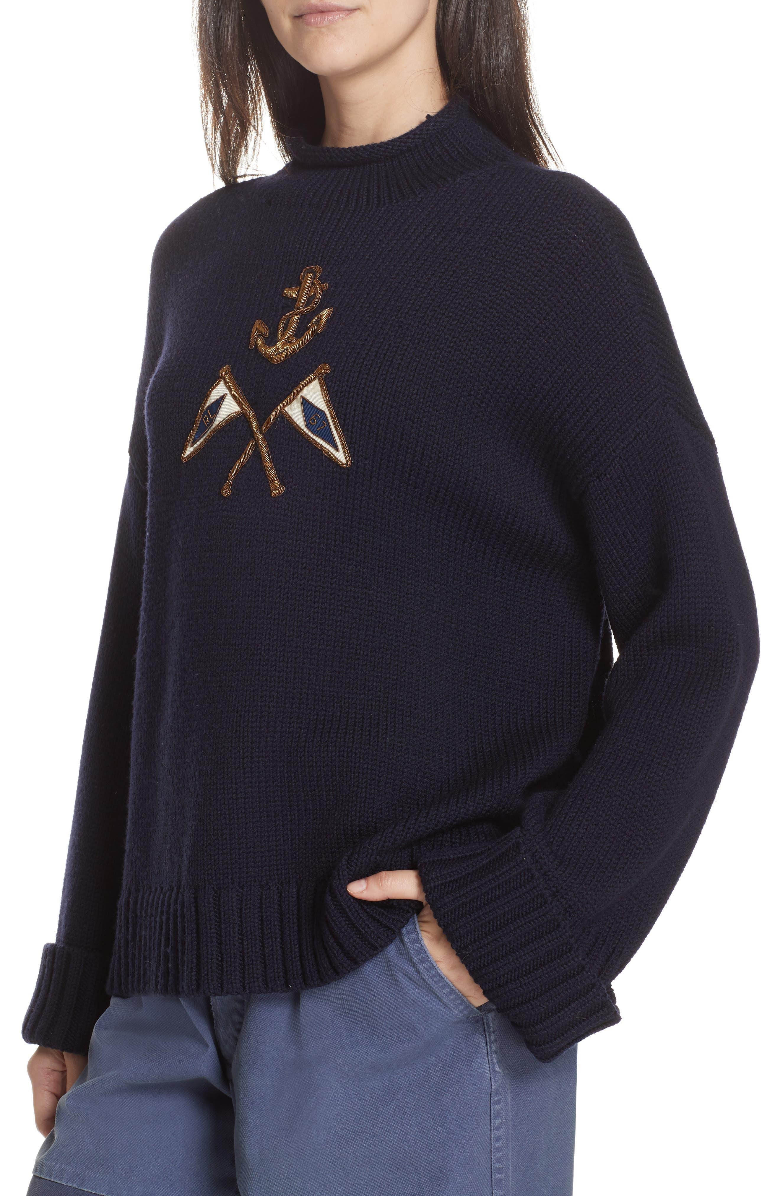 Crest Logo Wool Sweater,                             Alternate thumbnail 2, color,                             NAVY