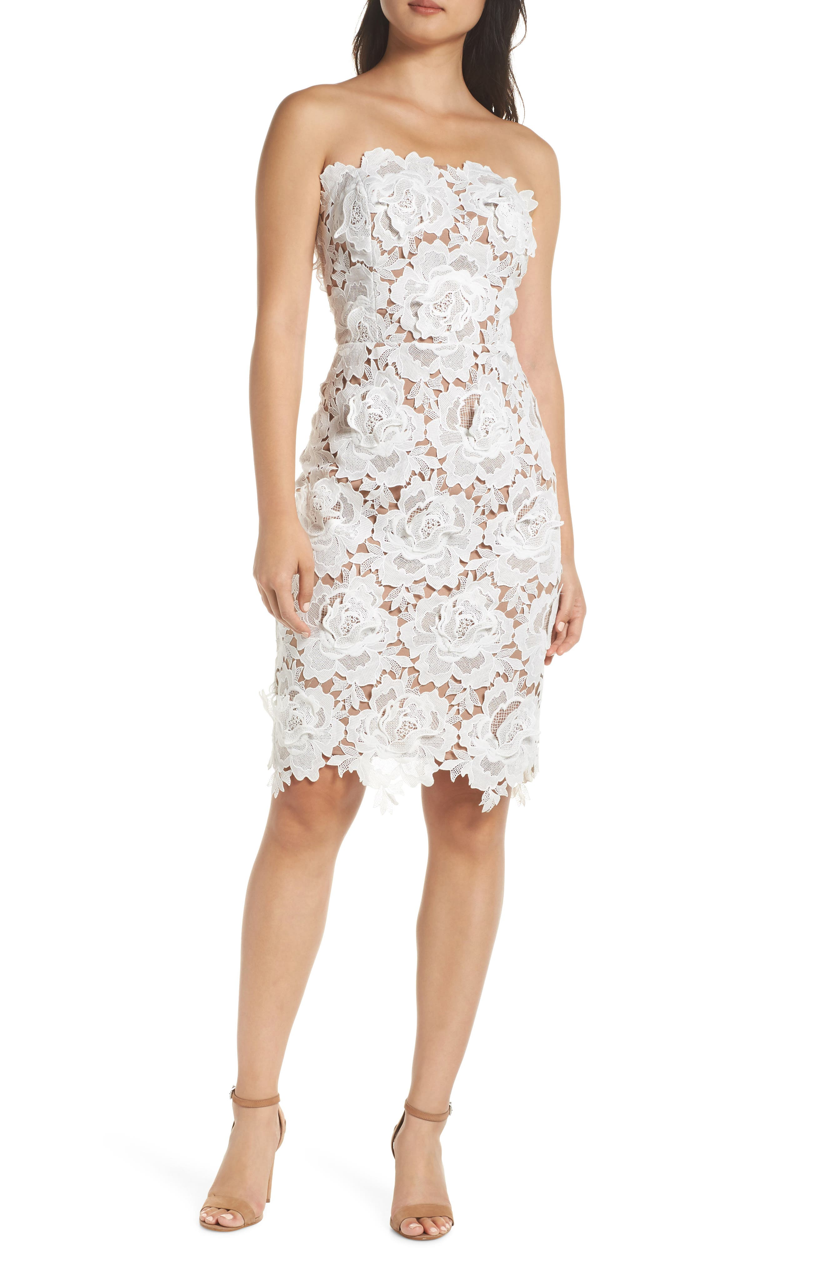 Jade Strapless Lace Dress,                             Main thumbnail 1, color,                             WHITE-NUDE