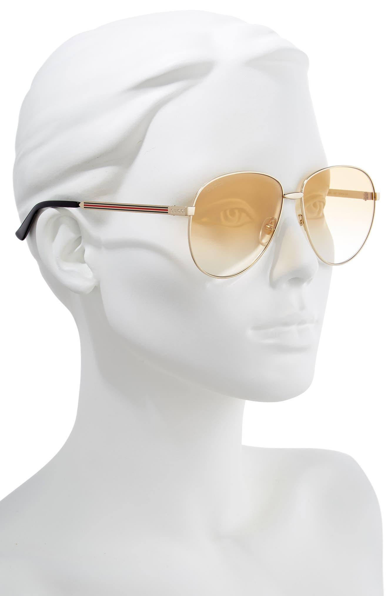 61mm Metal Aviator Sunglasses,                             Alternate thumbnail 2, color,                             GOLD/ BROWN GRADIENT