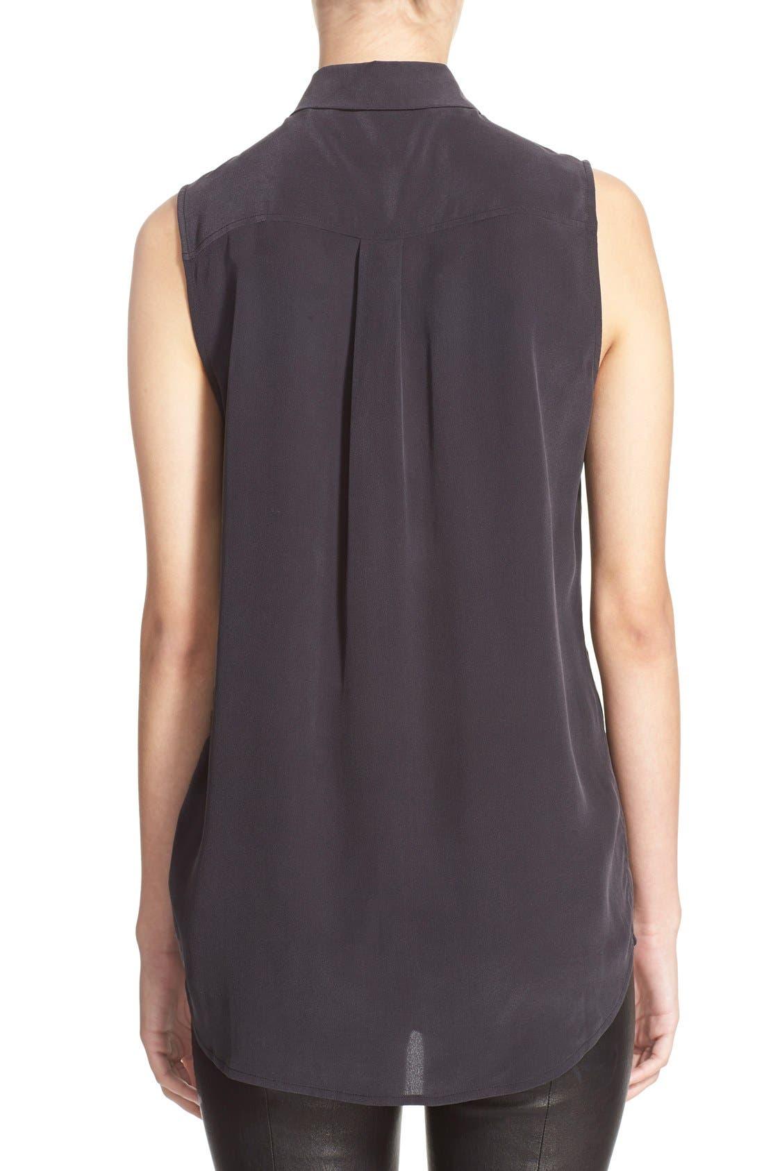 'Slim Signature' Sleeveless Silk Shirt,                             Alternate thumbnail 103, color,