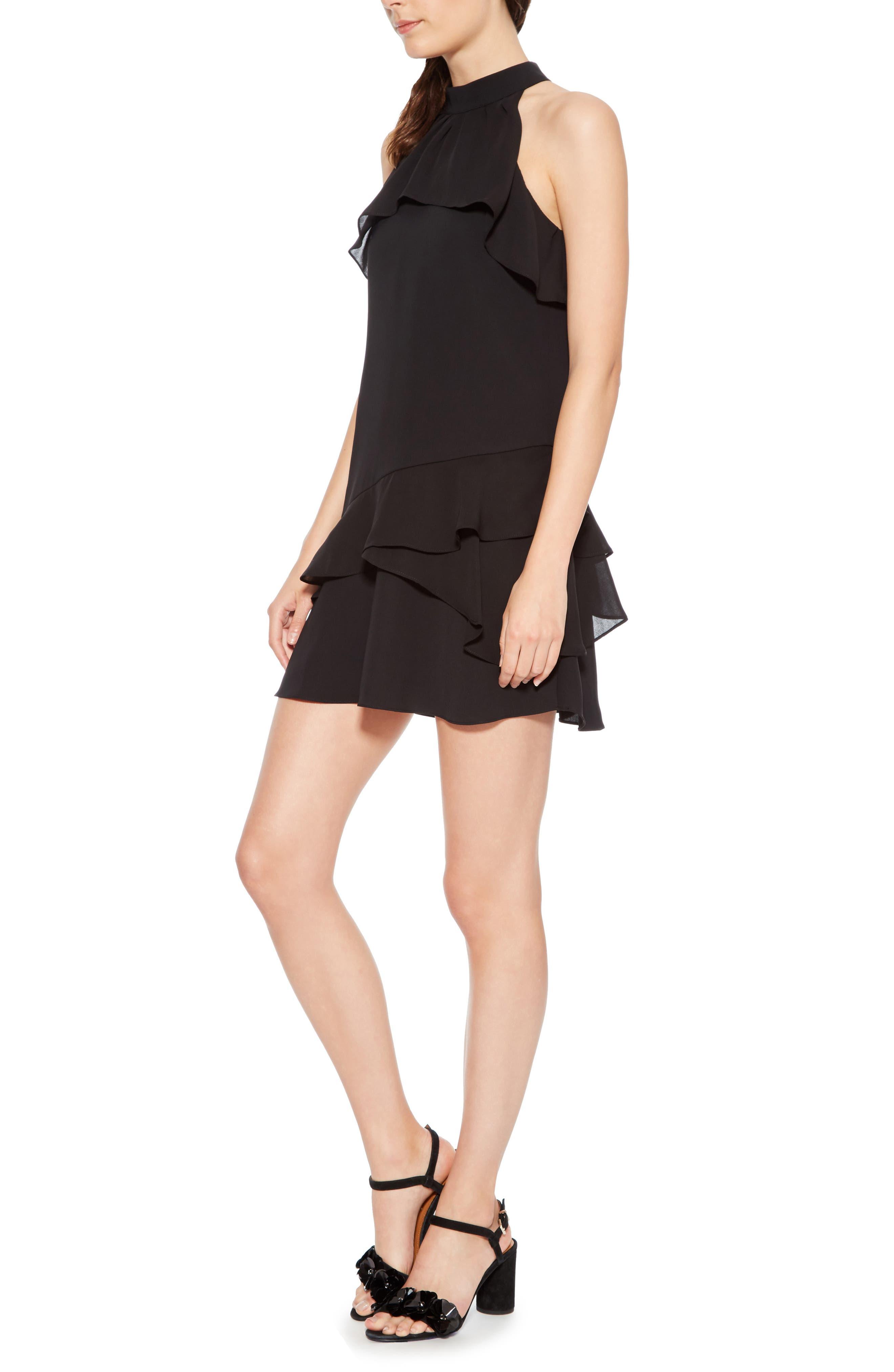 Serafina Combo Dress,                             Alternate thumbnail 3, color,                             BLACK