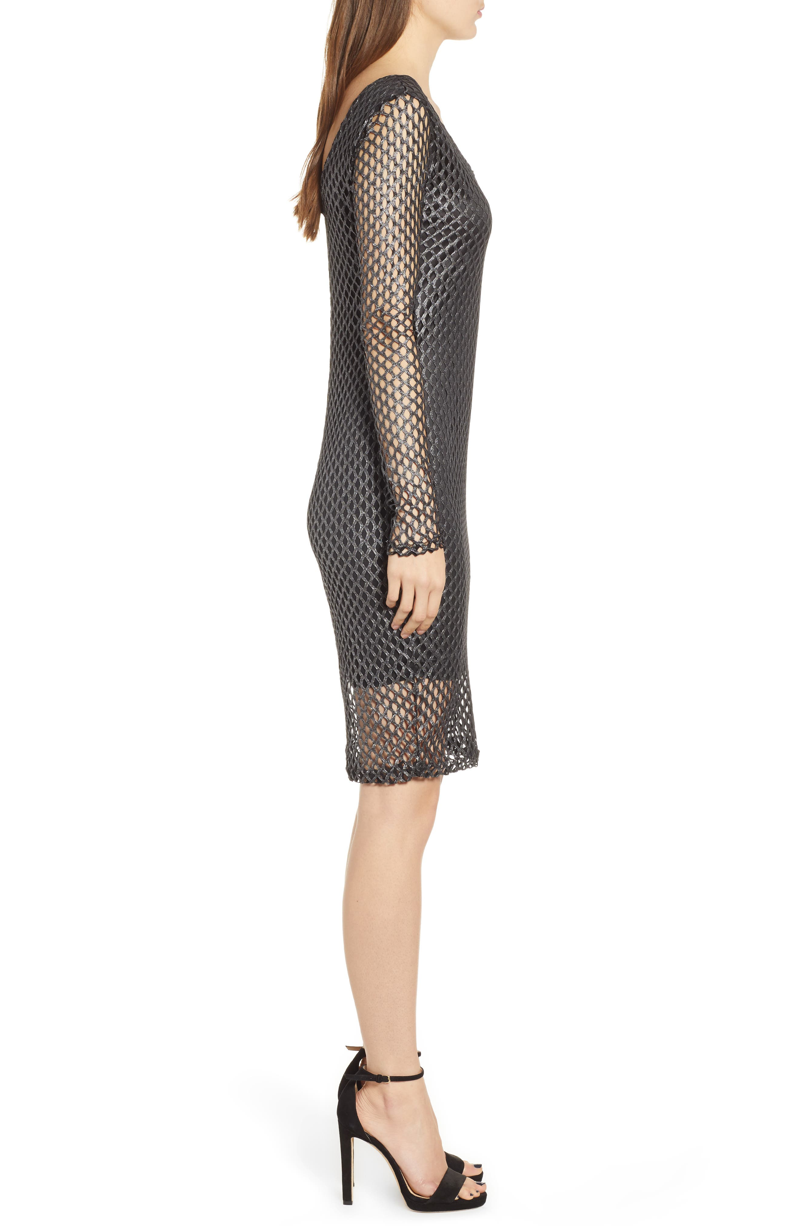 Mesh Sheath Dress,                             Alternate thumbnail 3, color,                             BLACK/ GREY SHIMMER