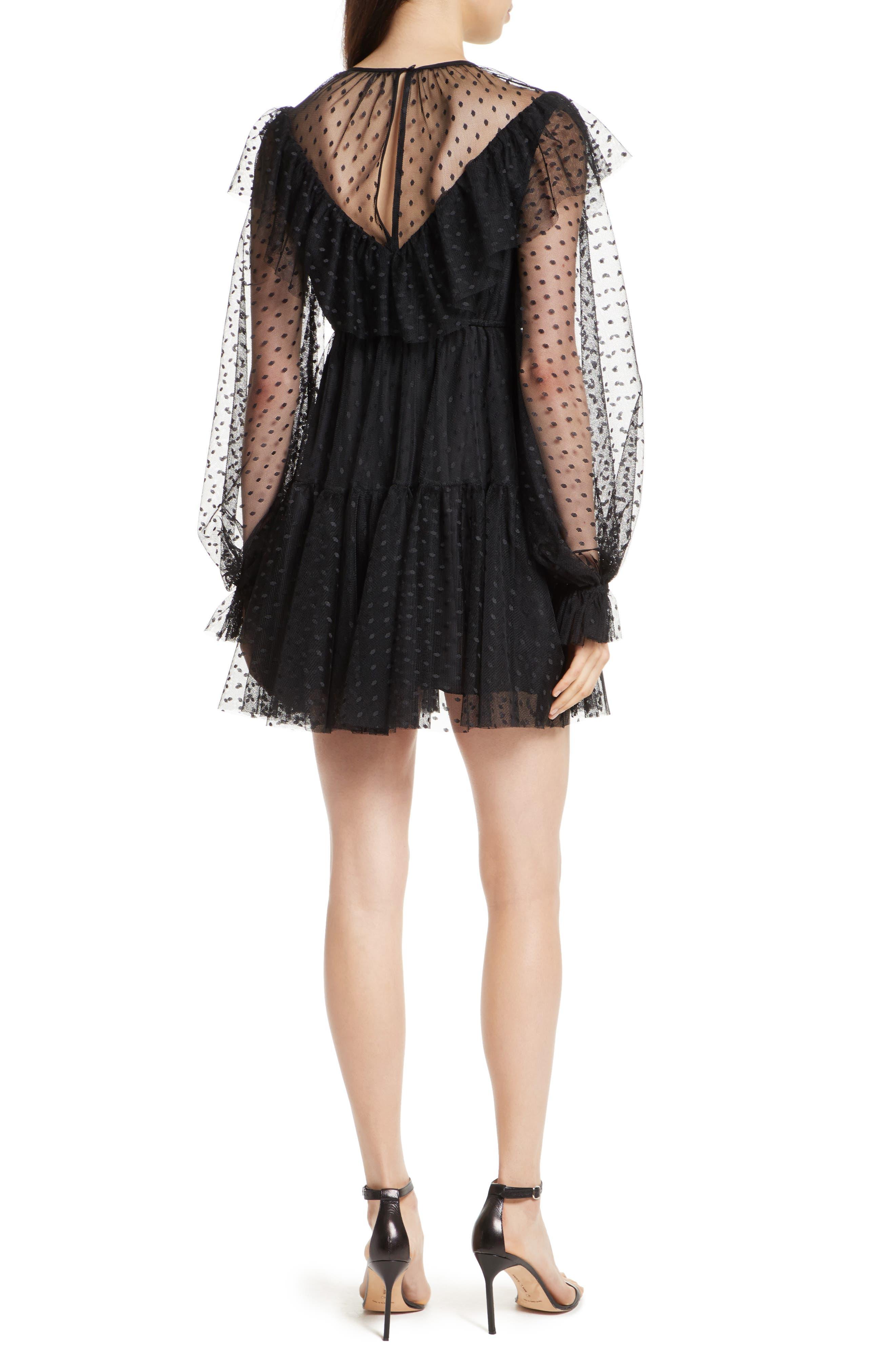 Dot Tulle Victorian Dress,                             Alternate thumbnail 2, color,                             001