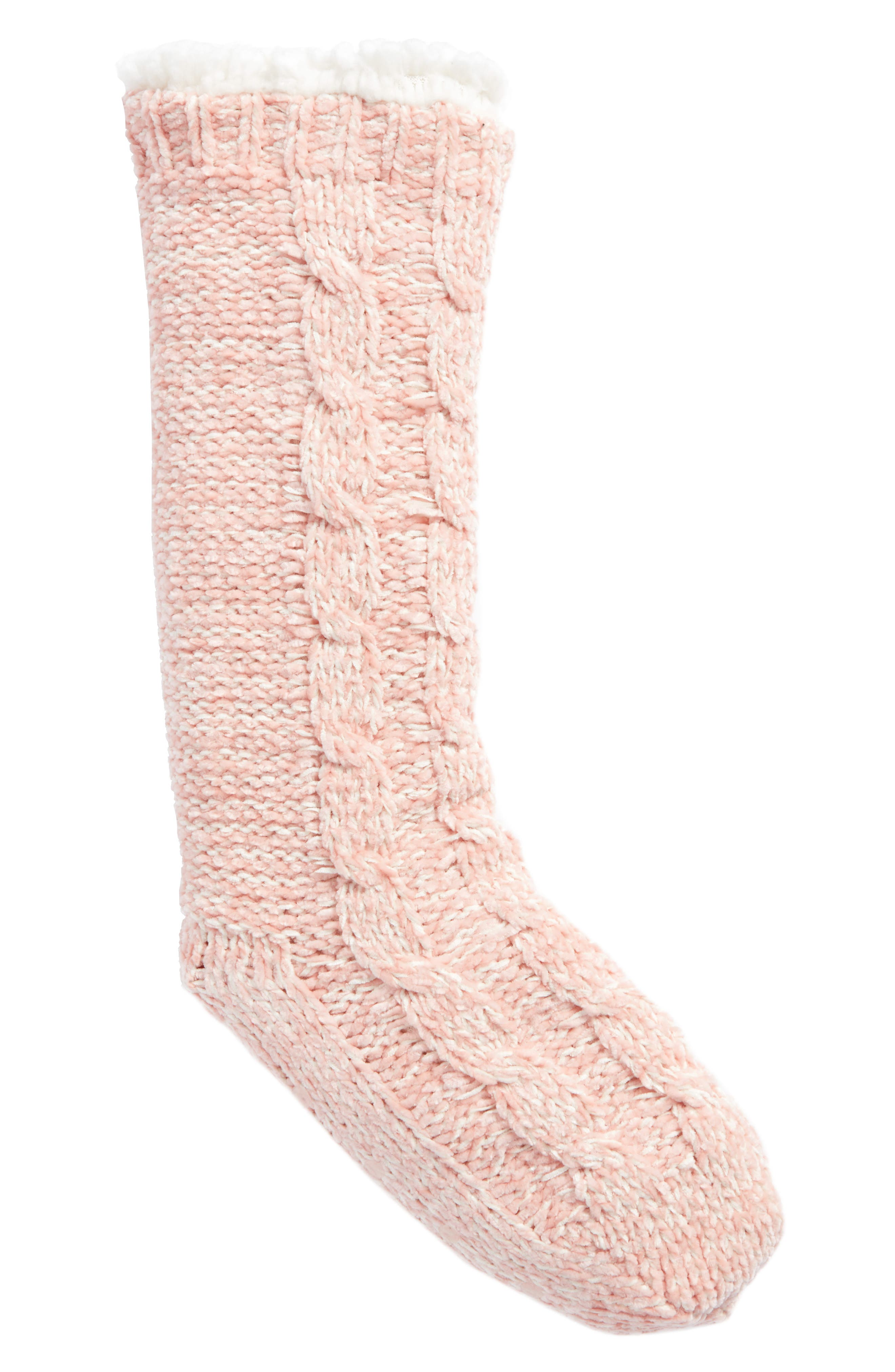 Cable Knit Slipper Socks,                             Main thumbnail 3, color,