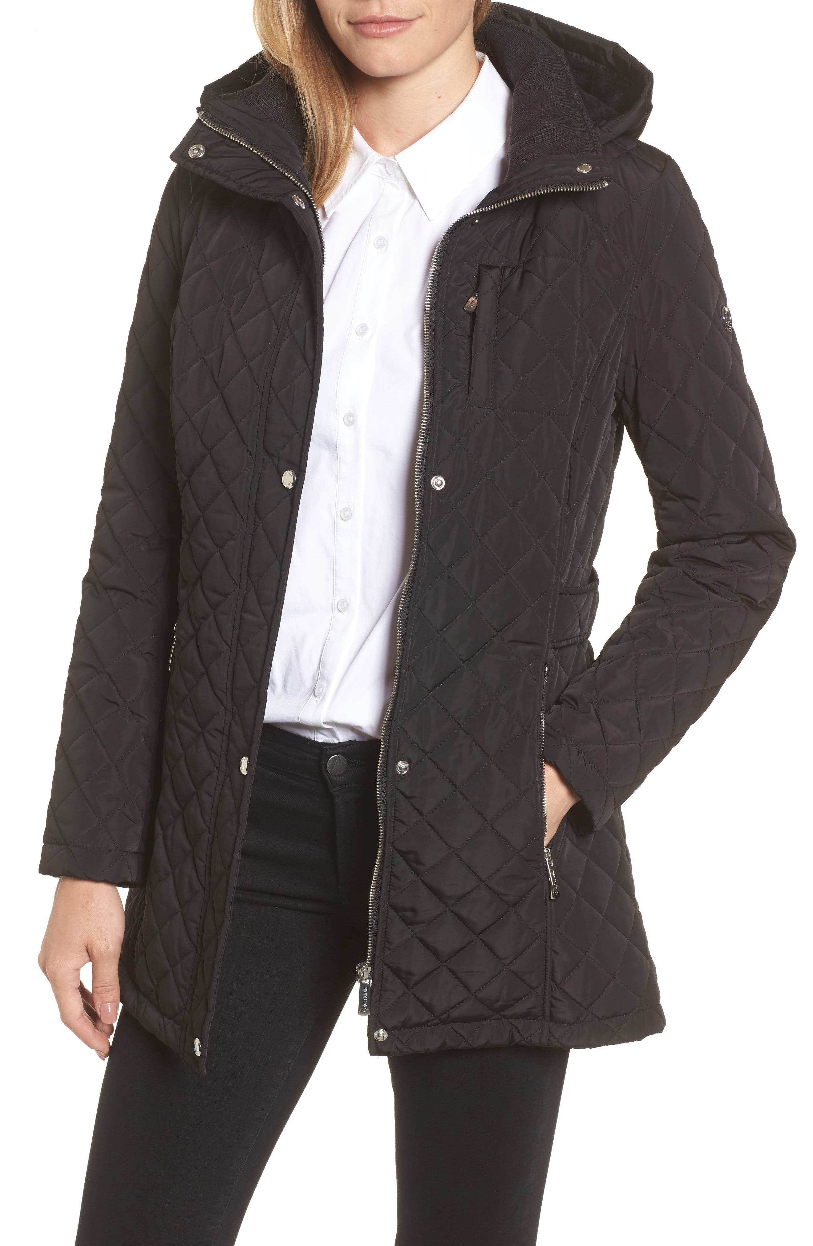 Hooded Quilted Jacket,                             Alternate thumbnail 2, color,                             001