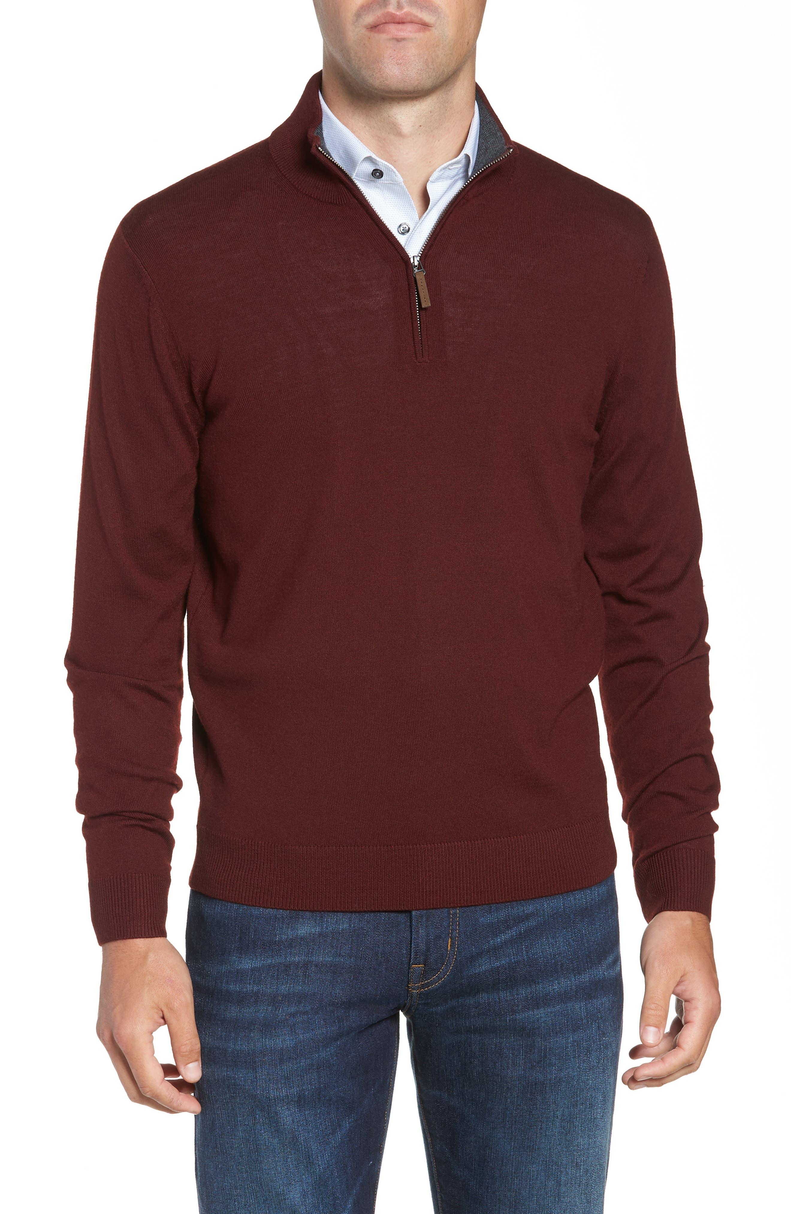 Quarter Zip Wool Pullover,                             Main thumbnail 1, color,                             BURGUNDY ROYALE