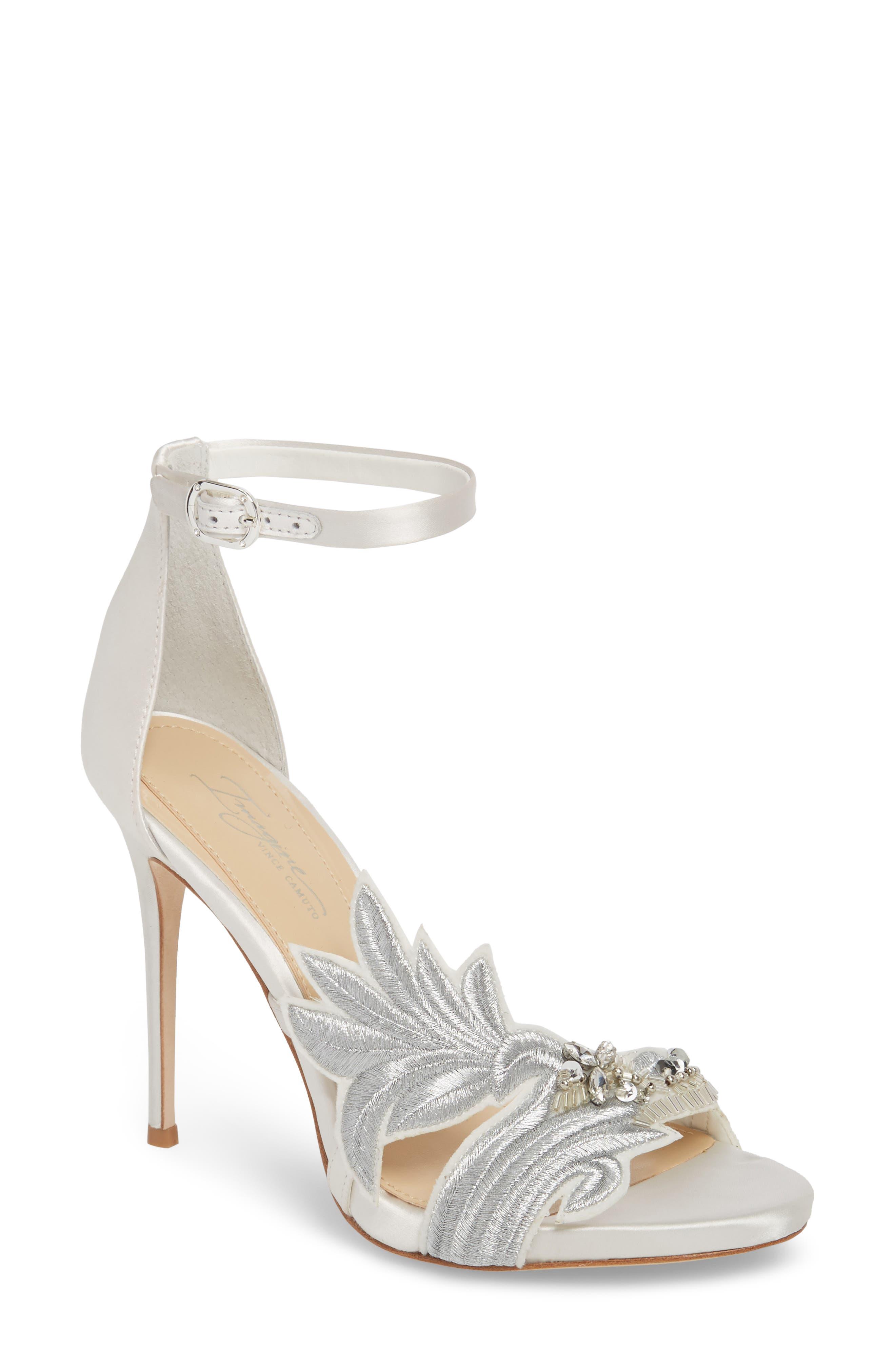 Imagine Vince Camuto Dayanara Embellished Sandal,                             Main thumbnail 1, color,                             PURE WHITE SATIN
