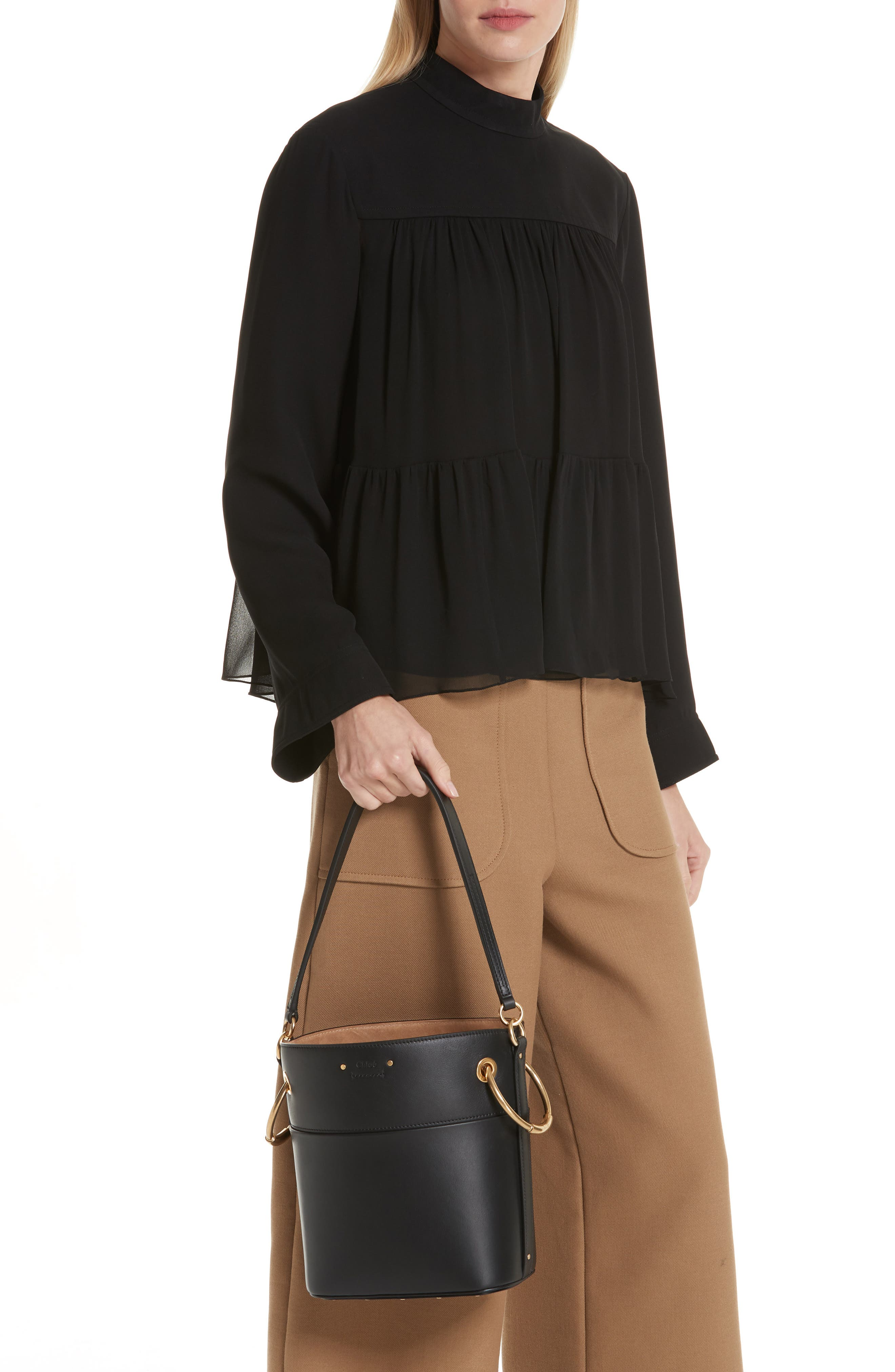 Roy Small Leather Bucket Bag,                             Alternate thumbnail 2, color,                             001