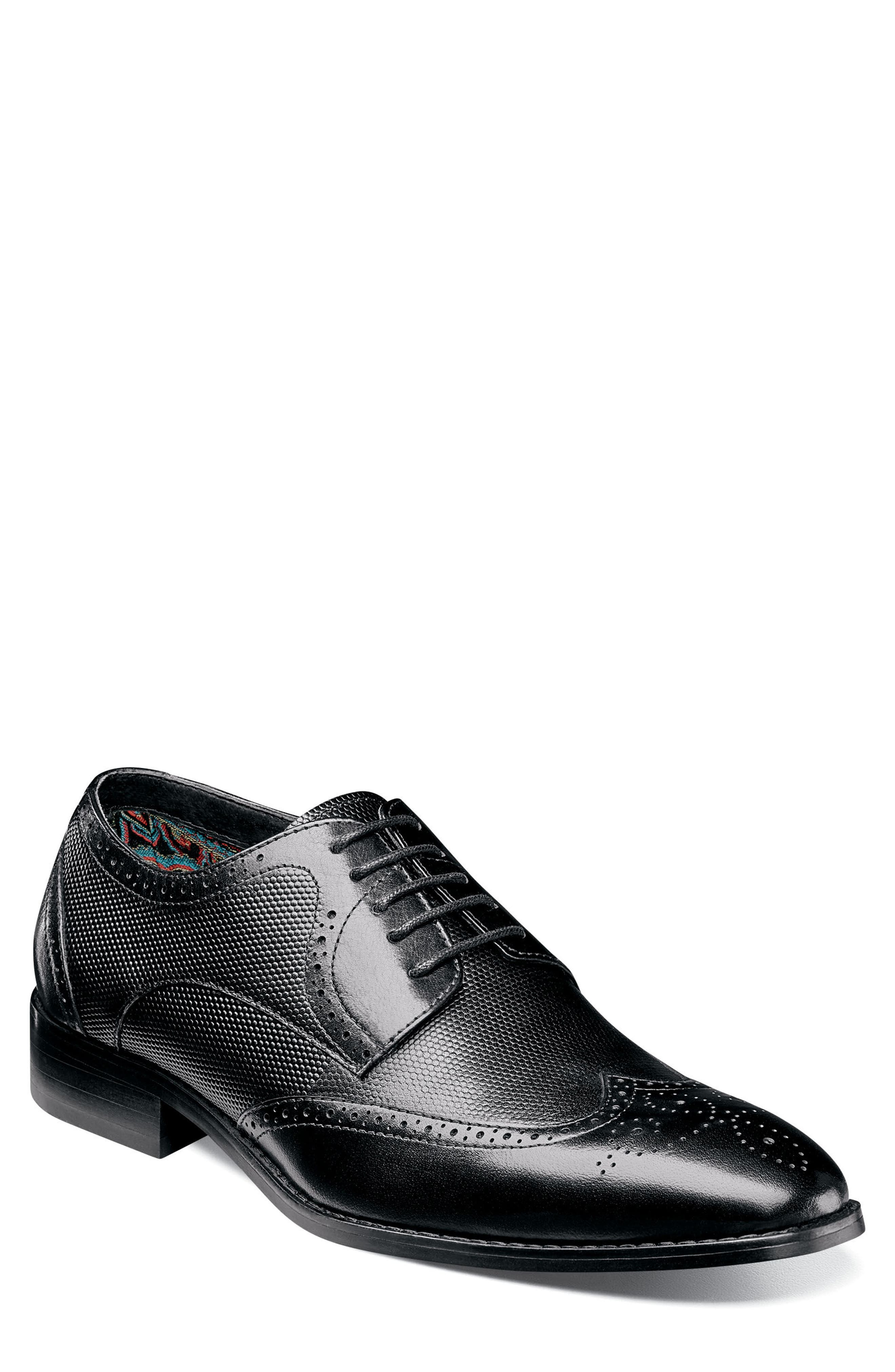 Lindell Wingtip,                             Main thumbnail 1, color,                             BLACK LEATHER