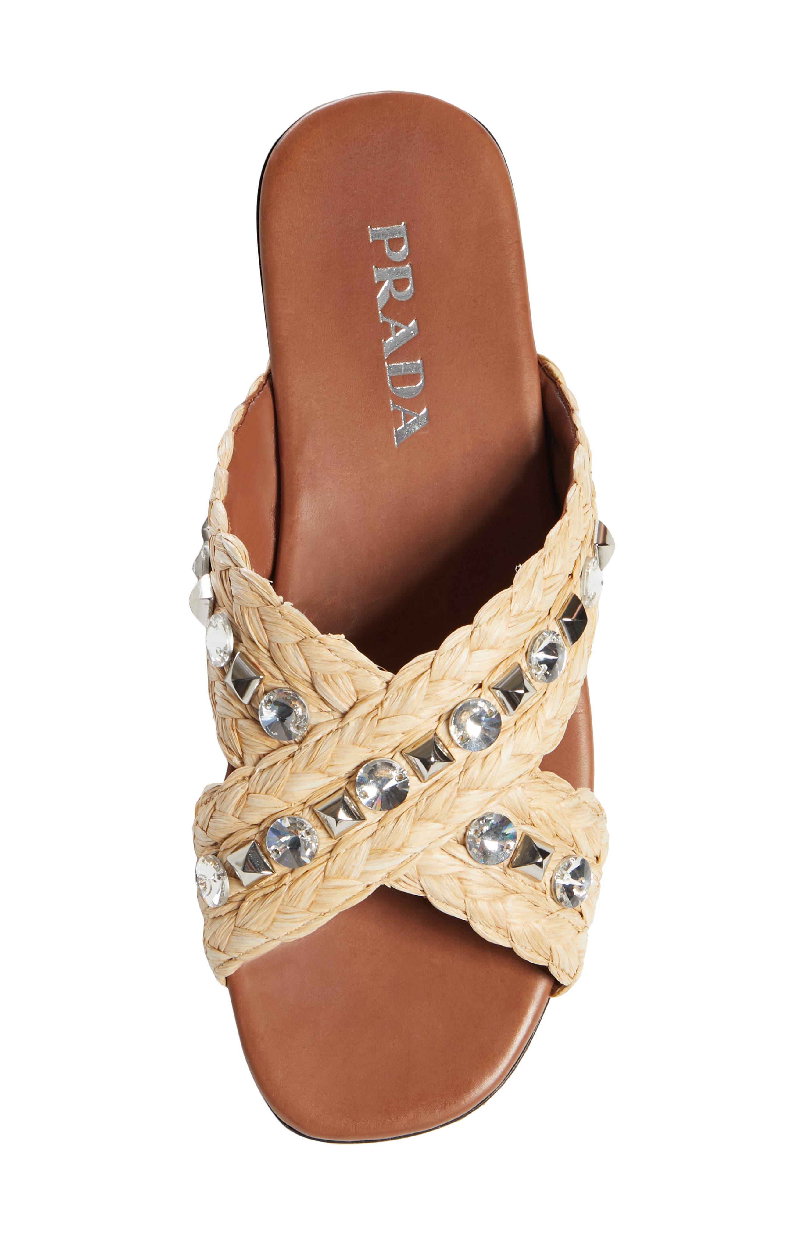 PRADA,                             Embellished Slide Sandal,                             Alternate thumbnail 5, color,                             NATURAL RAFFIA