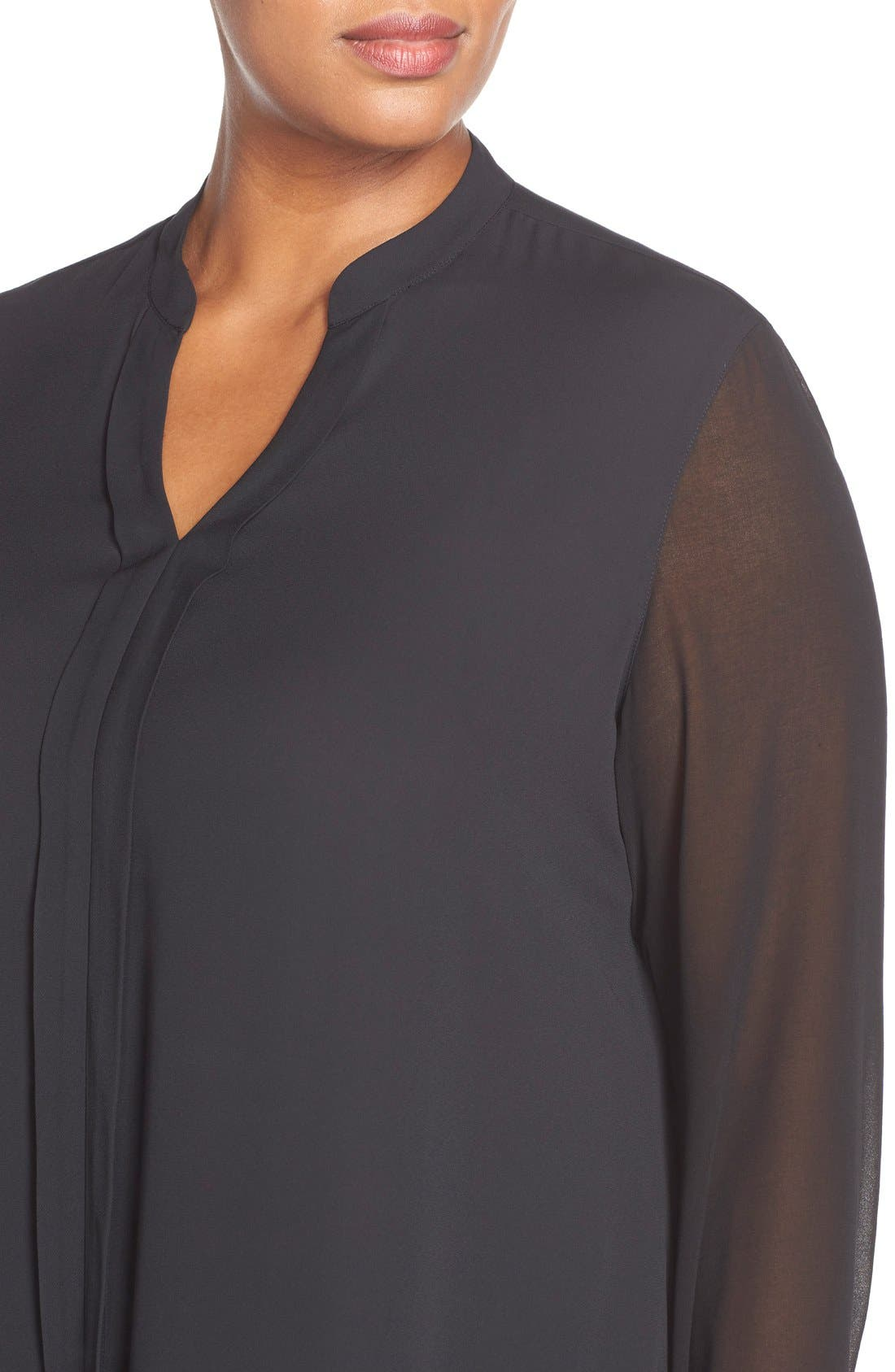 Sheer Sleeve Split Neck Blouse,                             Alternate thumbnail 4, color,                             001
