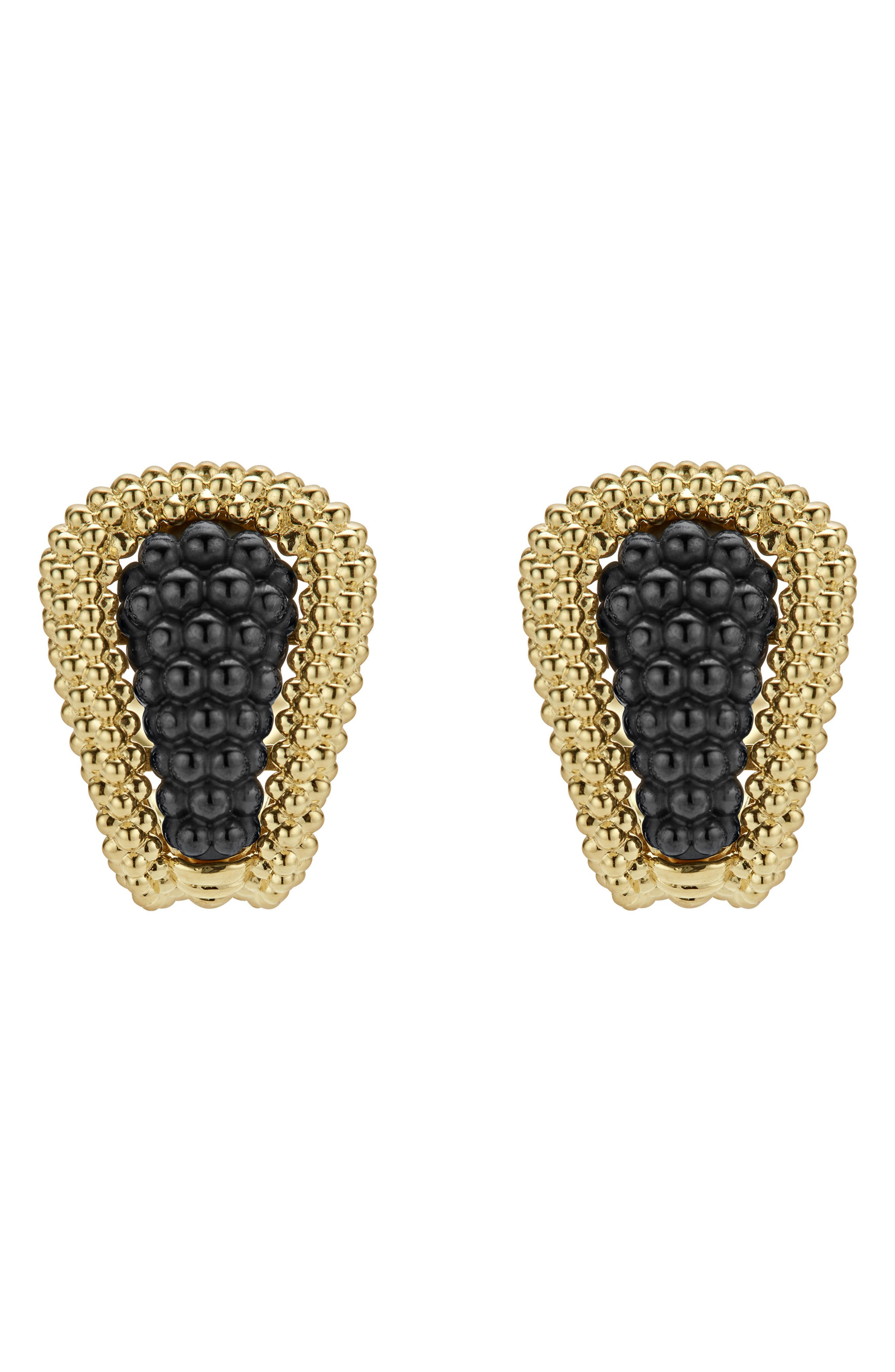 Gold & Black Caviar Tapered Omega Earrings,                             Alternate thumbnail 3, color,                             GOLD