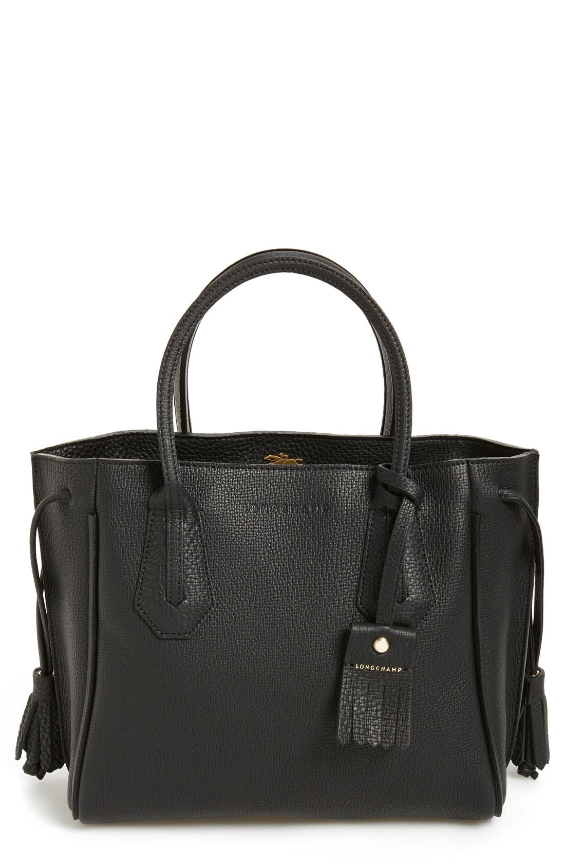 LONGCHAMP 'Small Penelope' Leather Tote, Main, color, 001