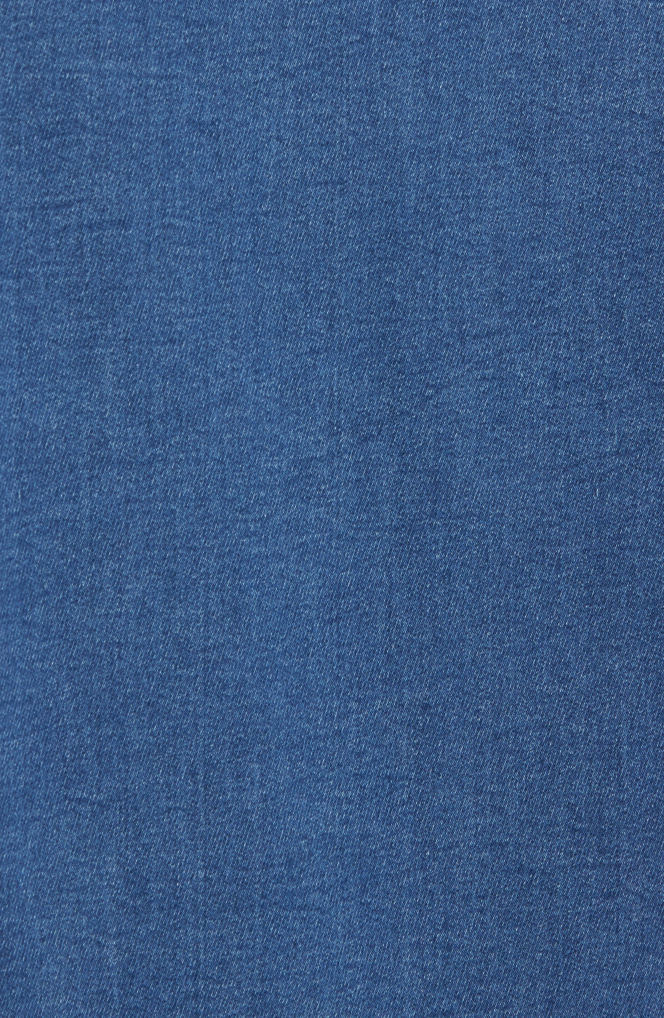 Trim Fit Utility Wash Knit Denim Shirt,                             Alternate thumbnail 5, color,