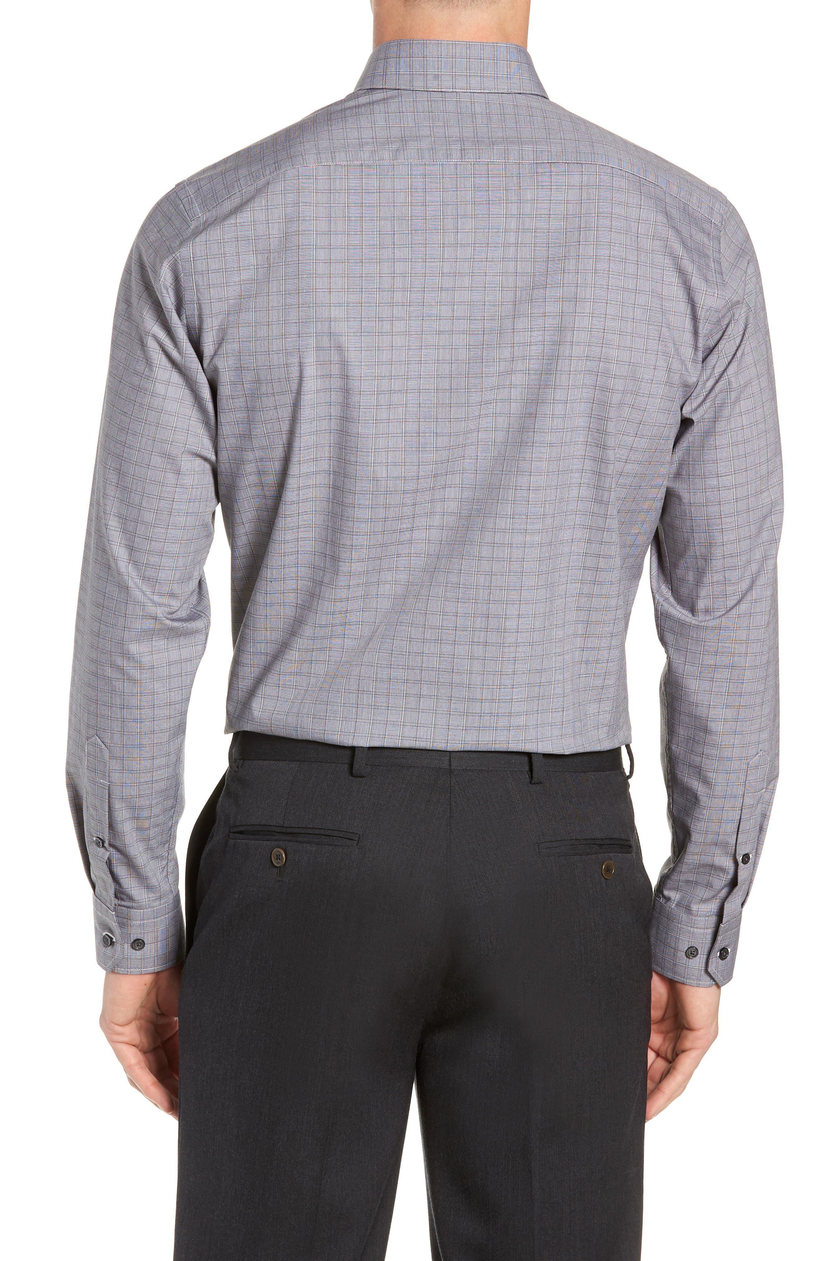 Trim Fit Stretch Non-Iron Check Dress Shirt,                             Alternate thumbnail 3, color,                             BLACK METEORITE