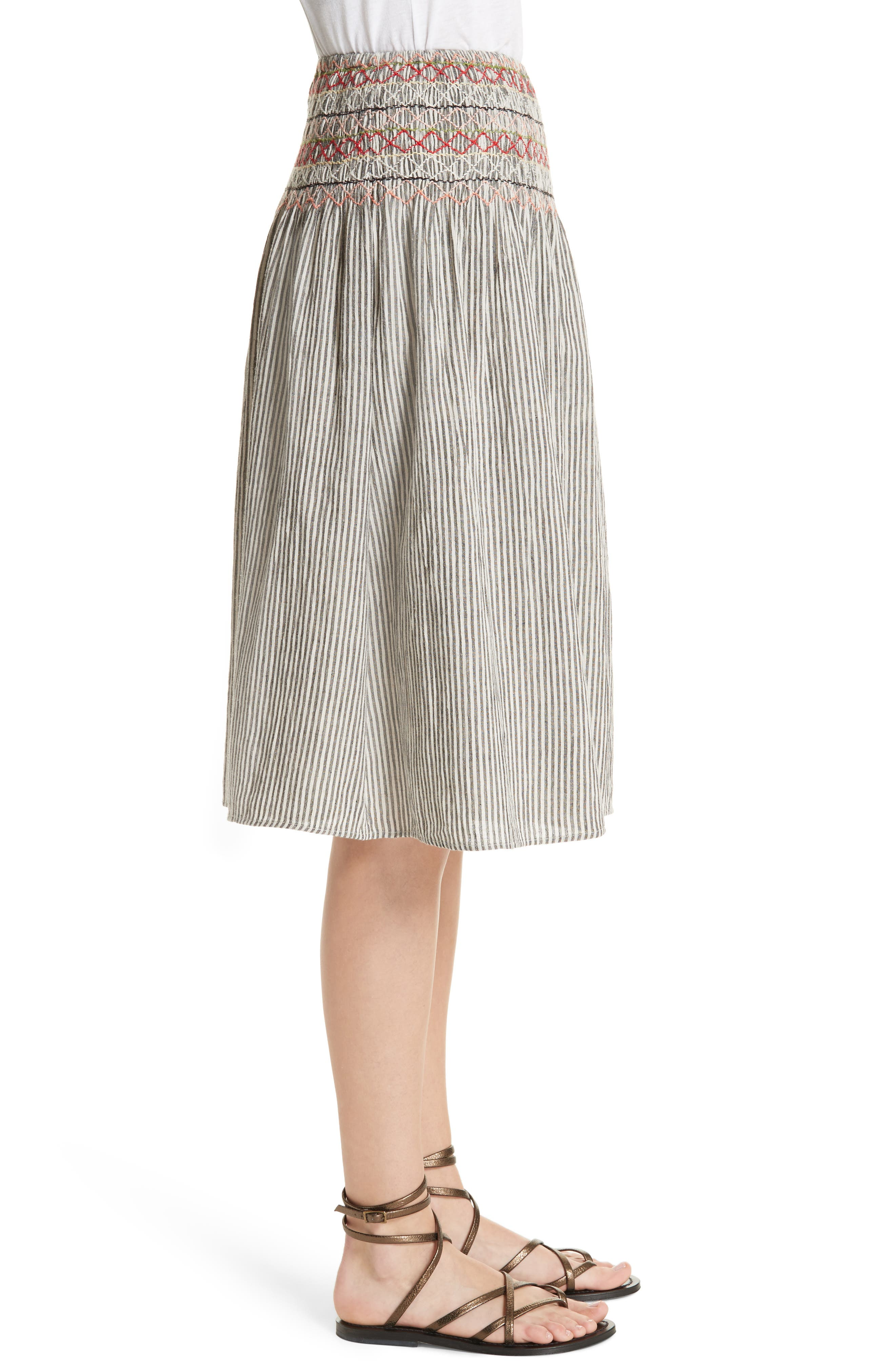 The Vista Cotton & Linen Skirt,                             Alternate thumbnail 3, color,