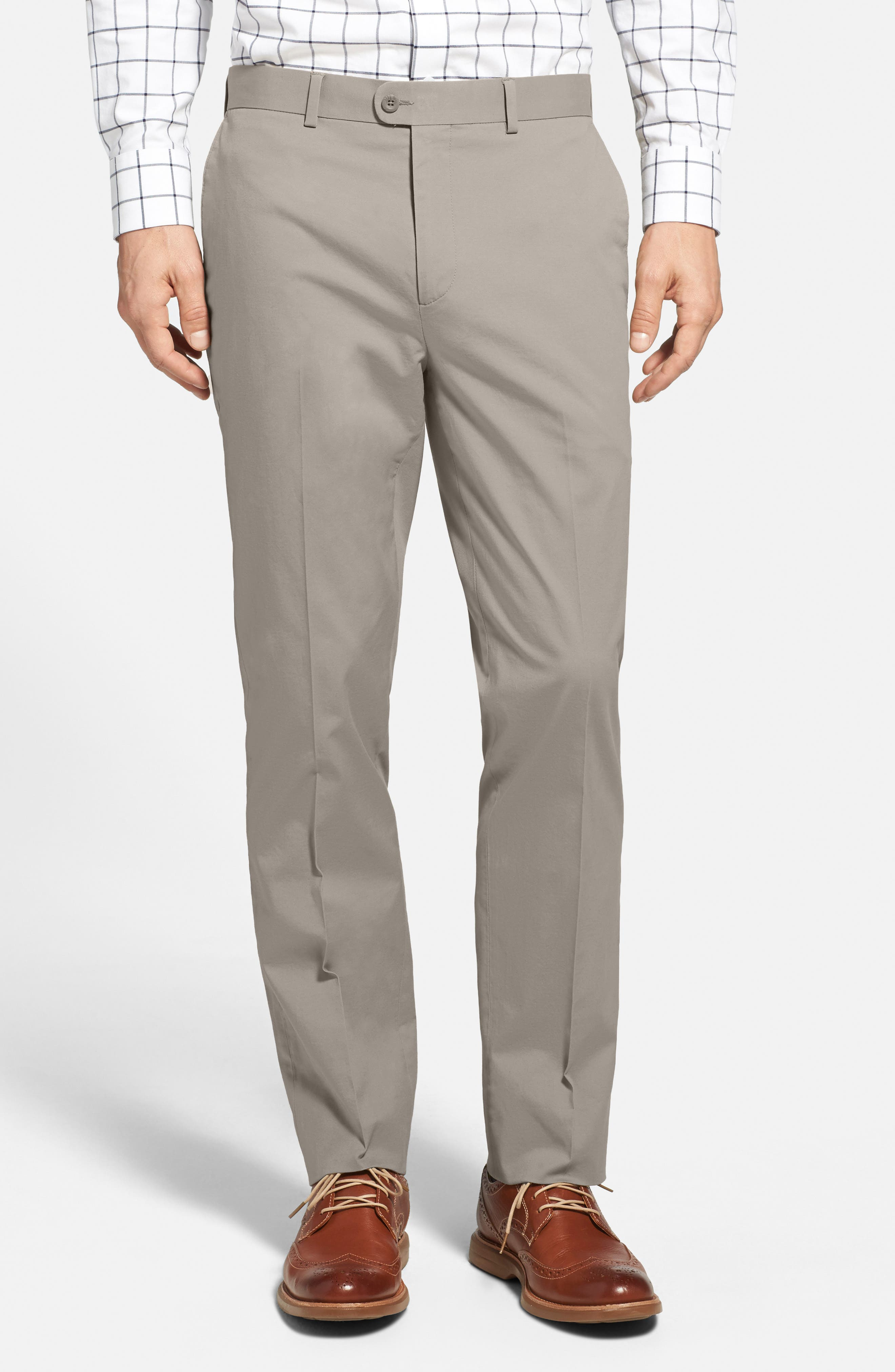 Washed Trim Fit Stretch Cotton Trousers,                             Alternate thumbnail 17, color,