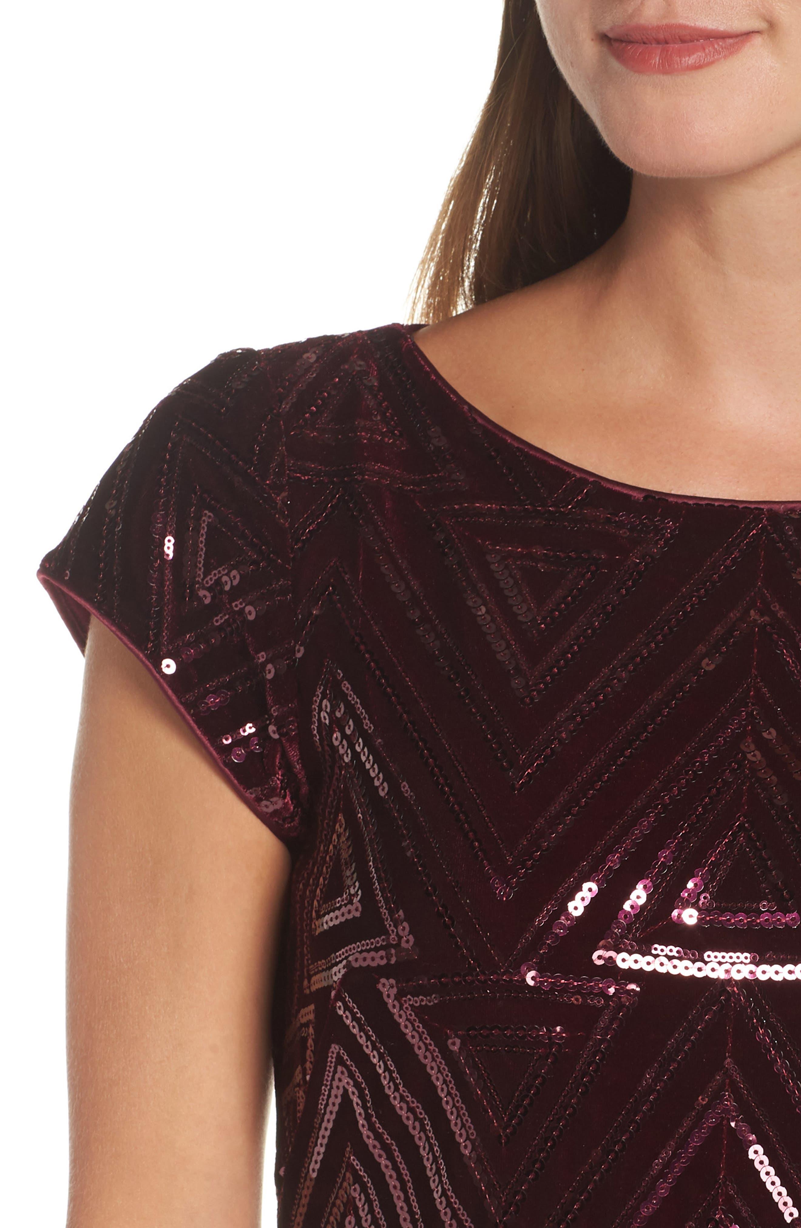 Sequin Sheath Dress,                             Alternate thumbnail 4, color,                             MAROON