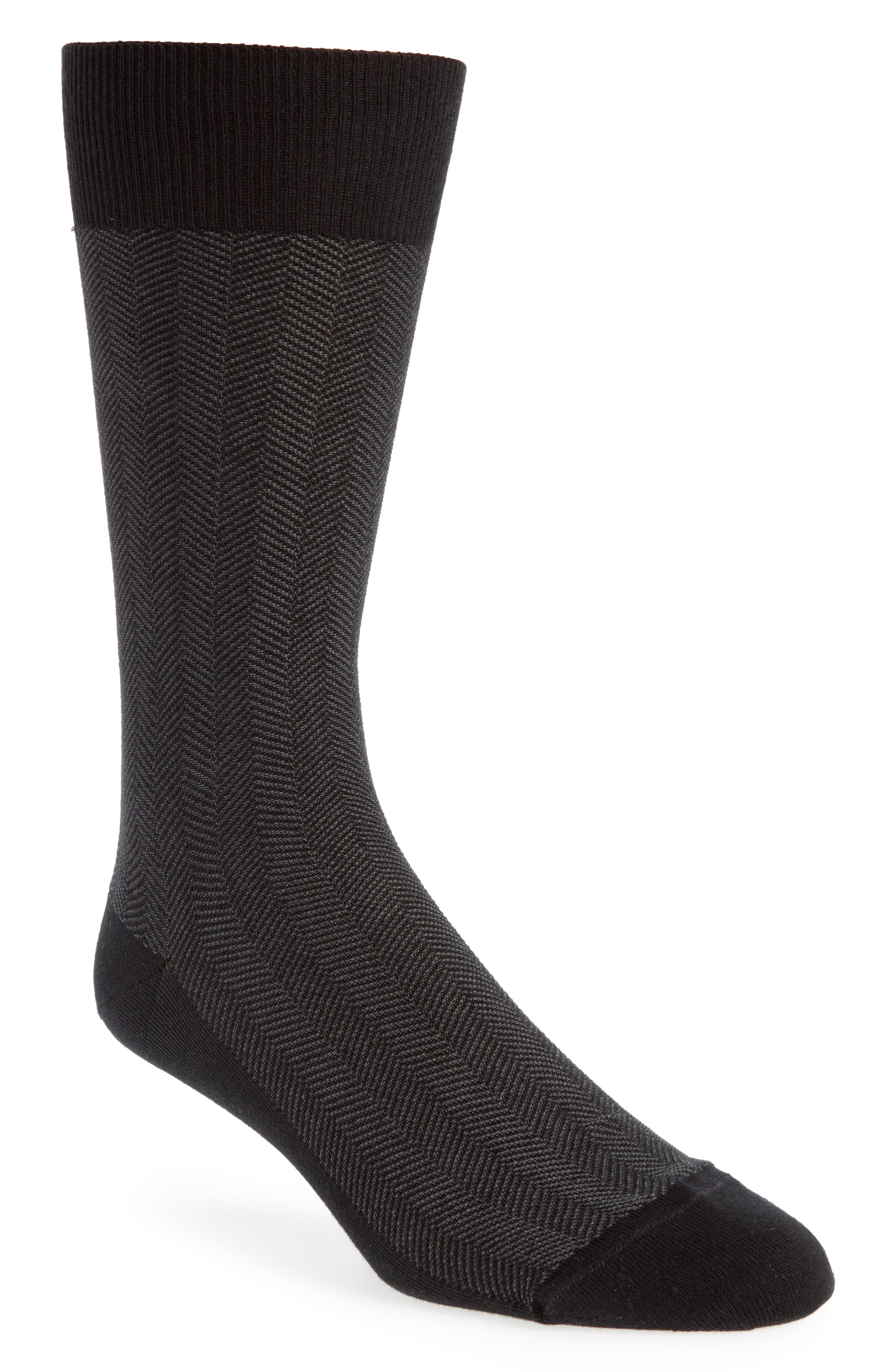 Herringbone Texture Crew Socks,                         Main,                         color, BLACK