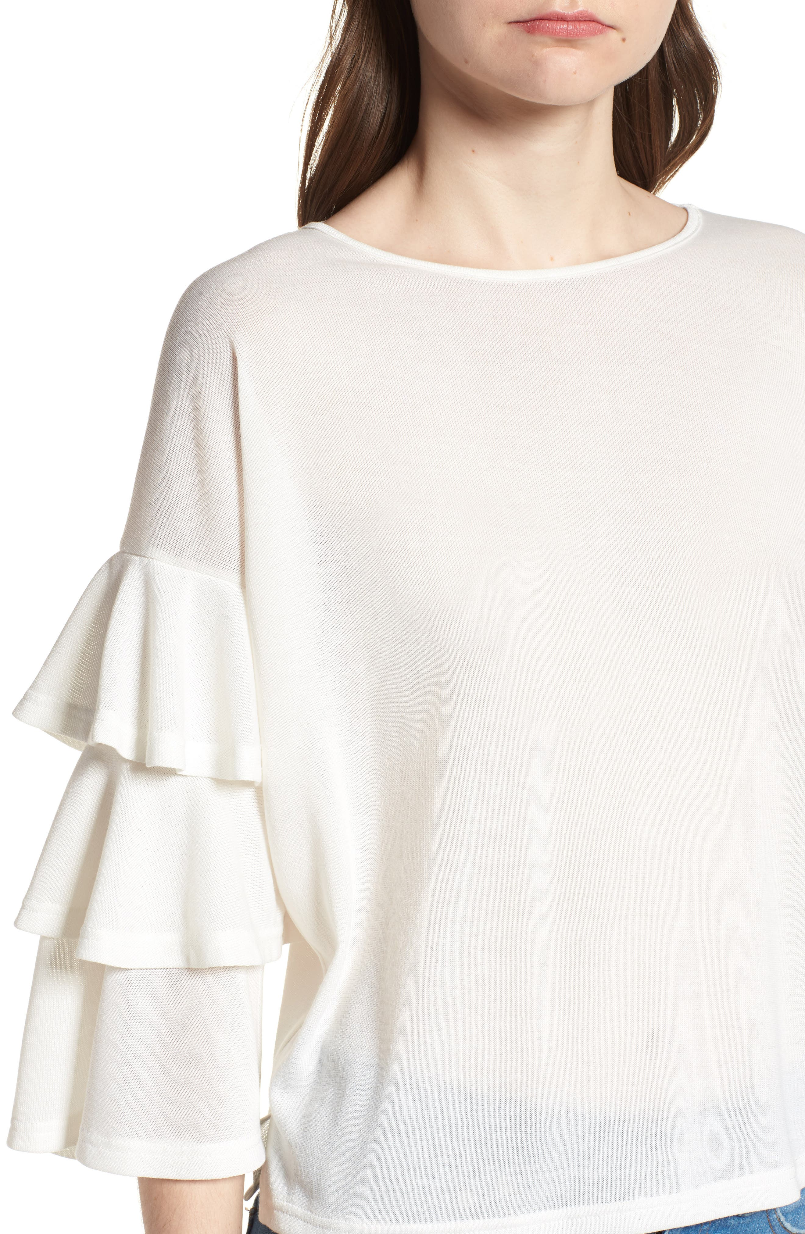 Bishop + Young Katie Tiered Ruffle Sleeve Top,                             Alternate thumbnail 4, color,                             WHITE