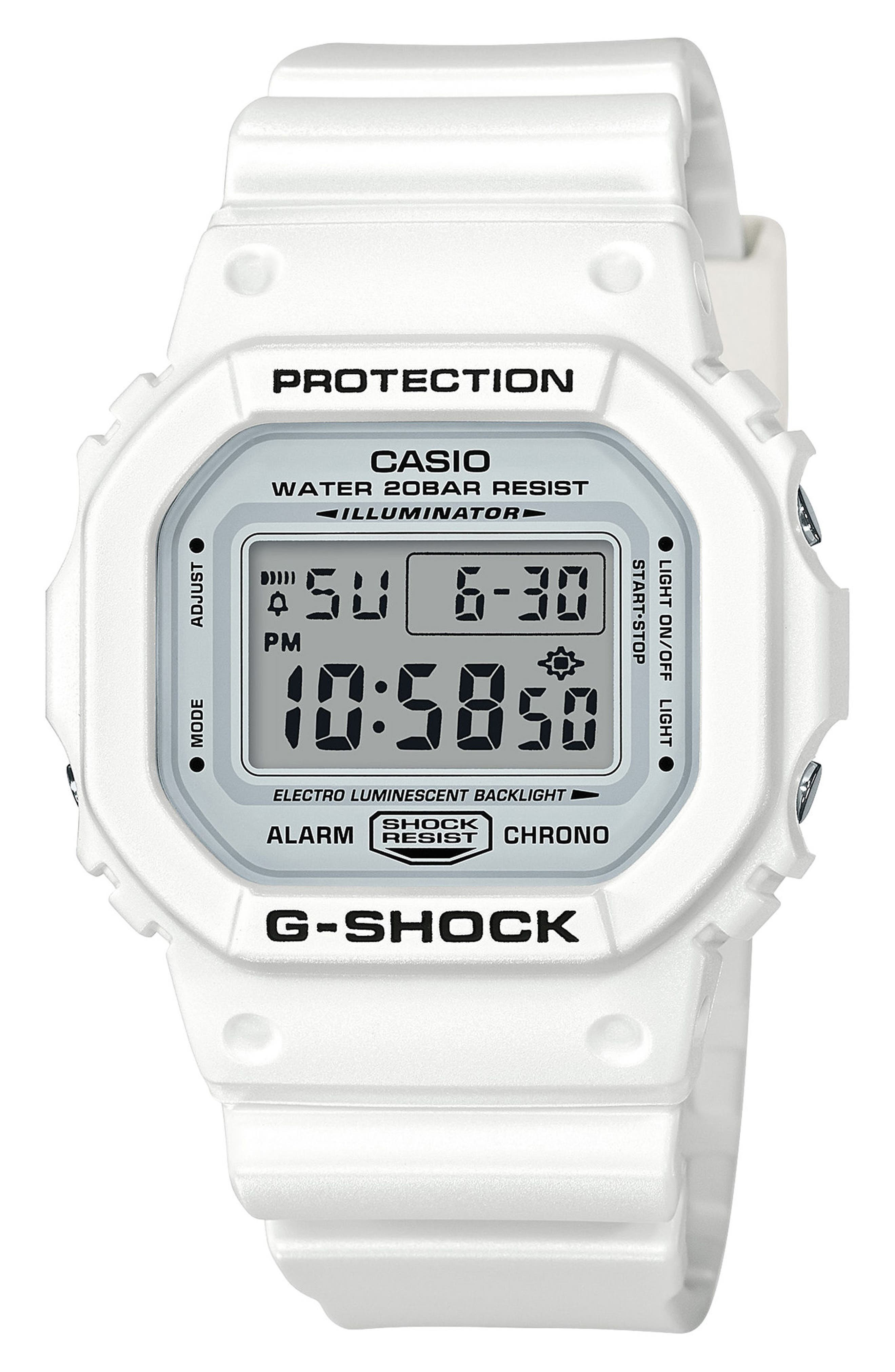 G-Shock Digital Resin Watch, 49mm,                         Main,                         color, WHITE