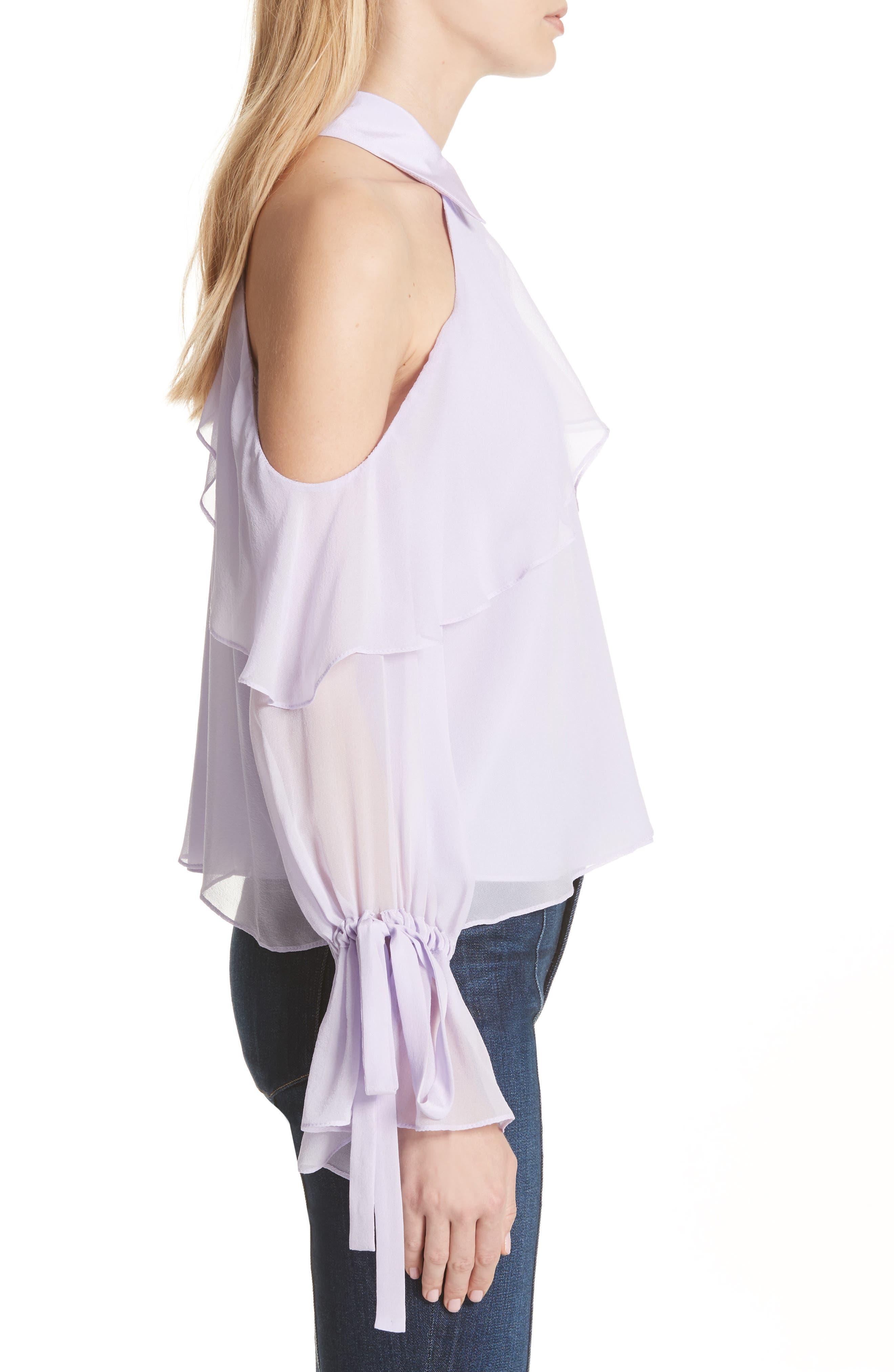 Blayne Cold Shoulder Silk Blouse,                             Alternate thumbnail 6, color,