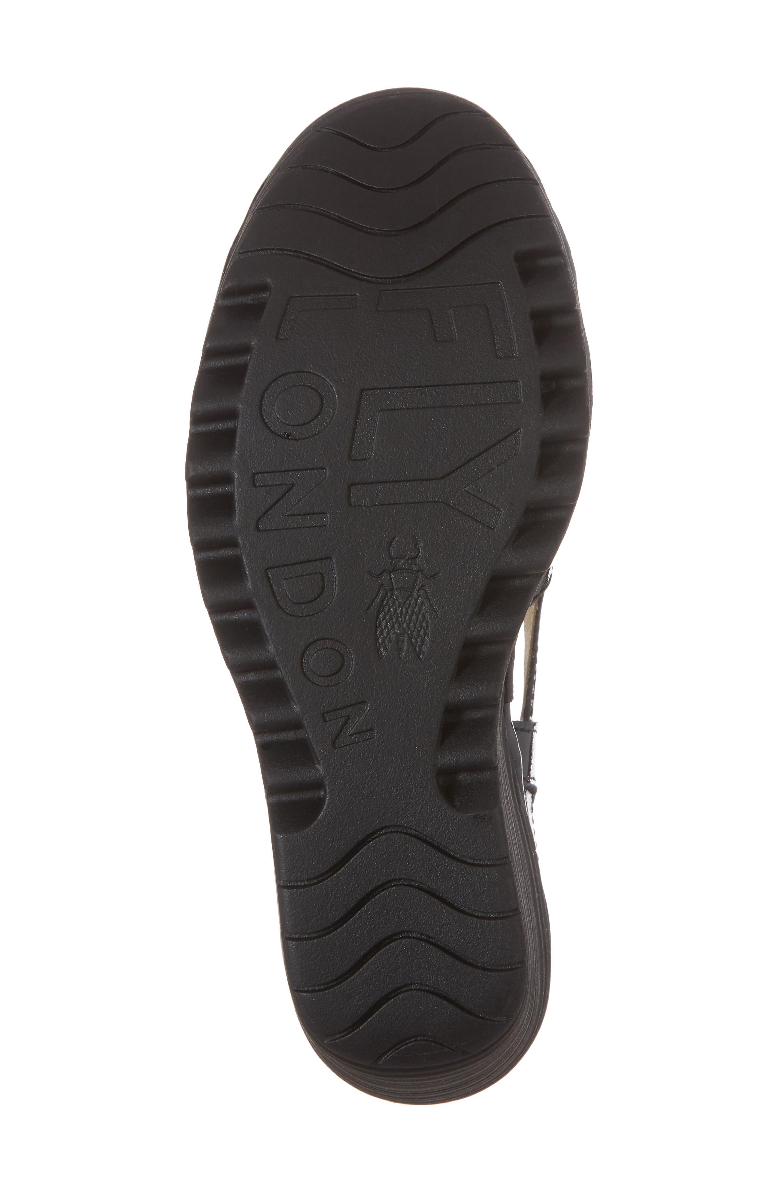 Yadi Wedge Sandal,                             Alternate thumbnail 6, color,                             BLACK LUXOR LEATHER