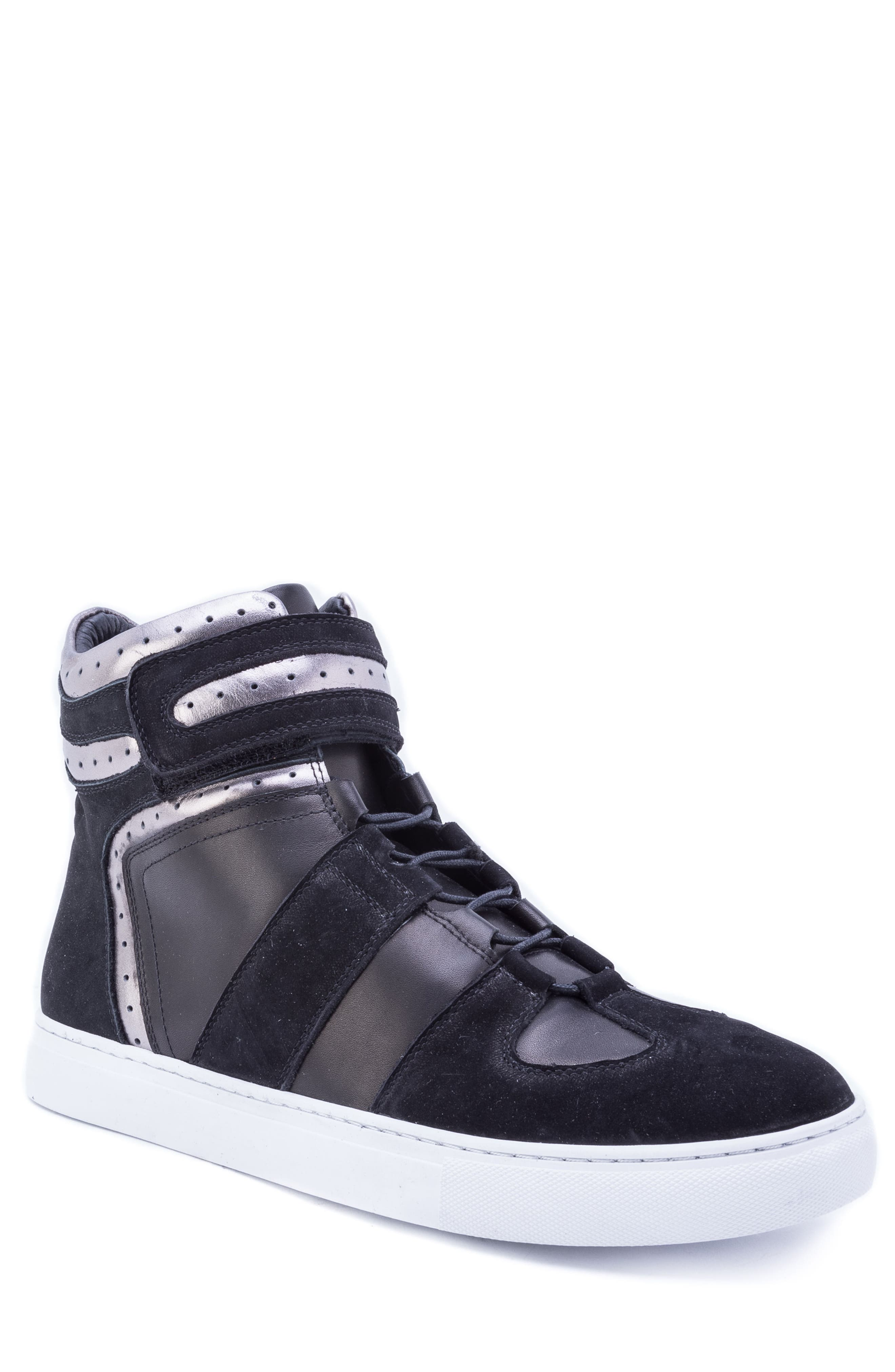 Belmondo High Top Sneaker,                             Main thumbnail 1, color,                             BLACK LEATHER/ SUEDE