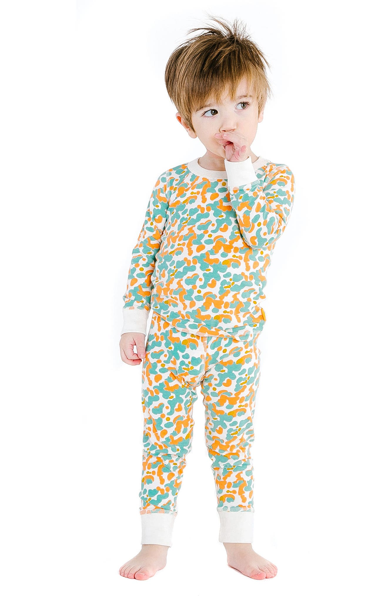 Spotted Organic Cotton Fitted Two-Piece Pajamas,                             Alternate thumbnail 2, color,                             424