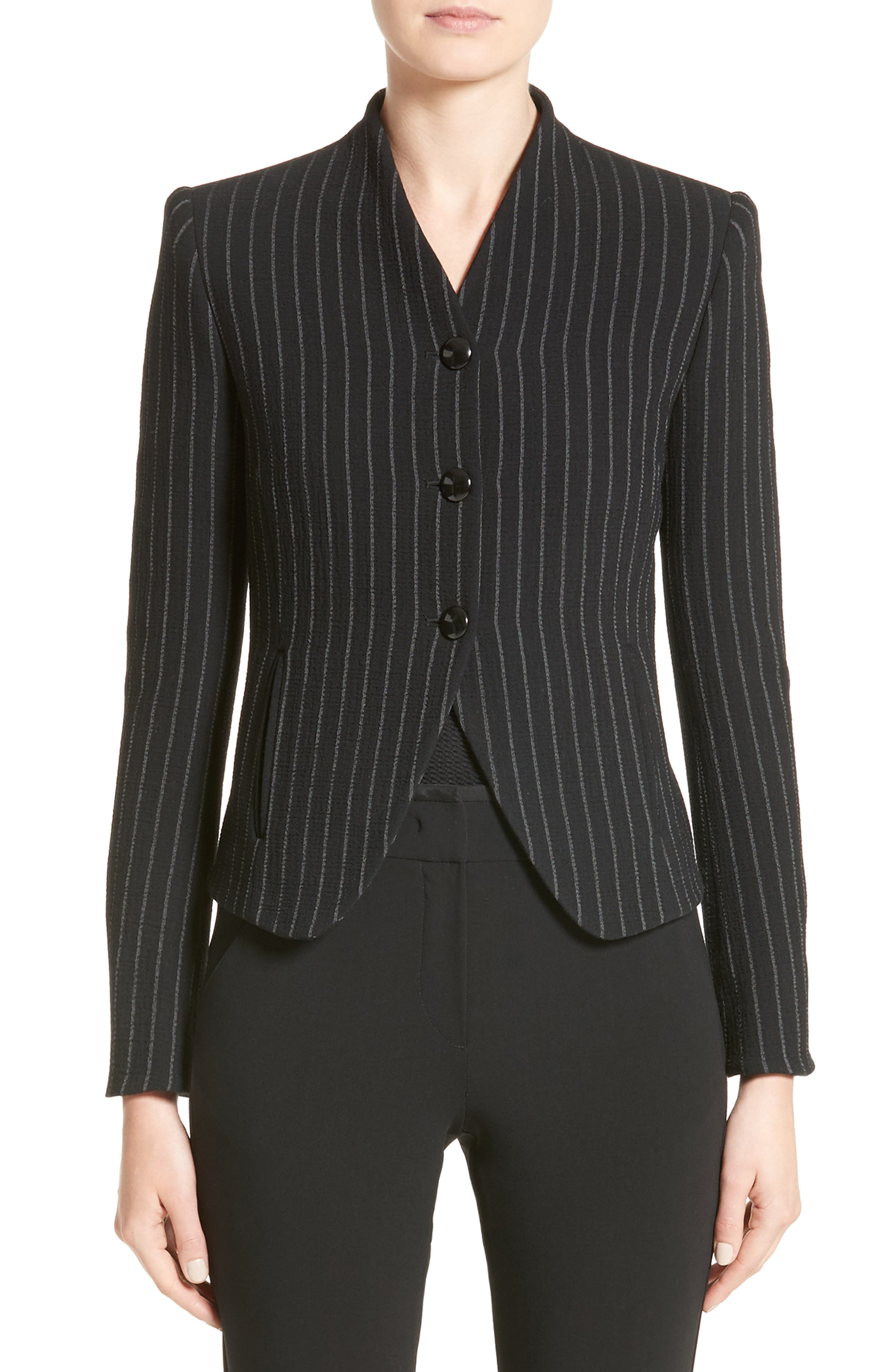 Stretch Wool Pinstripe Jacket,                         Main,                         color, 001