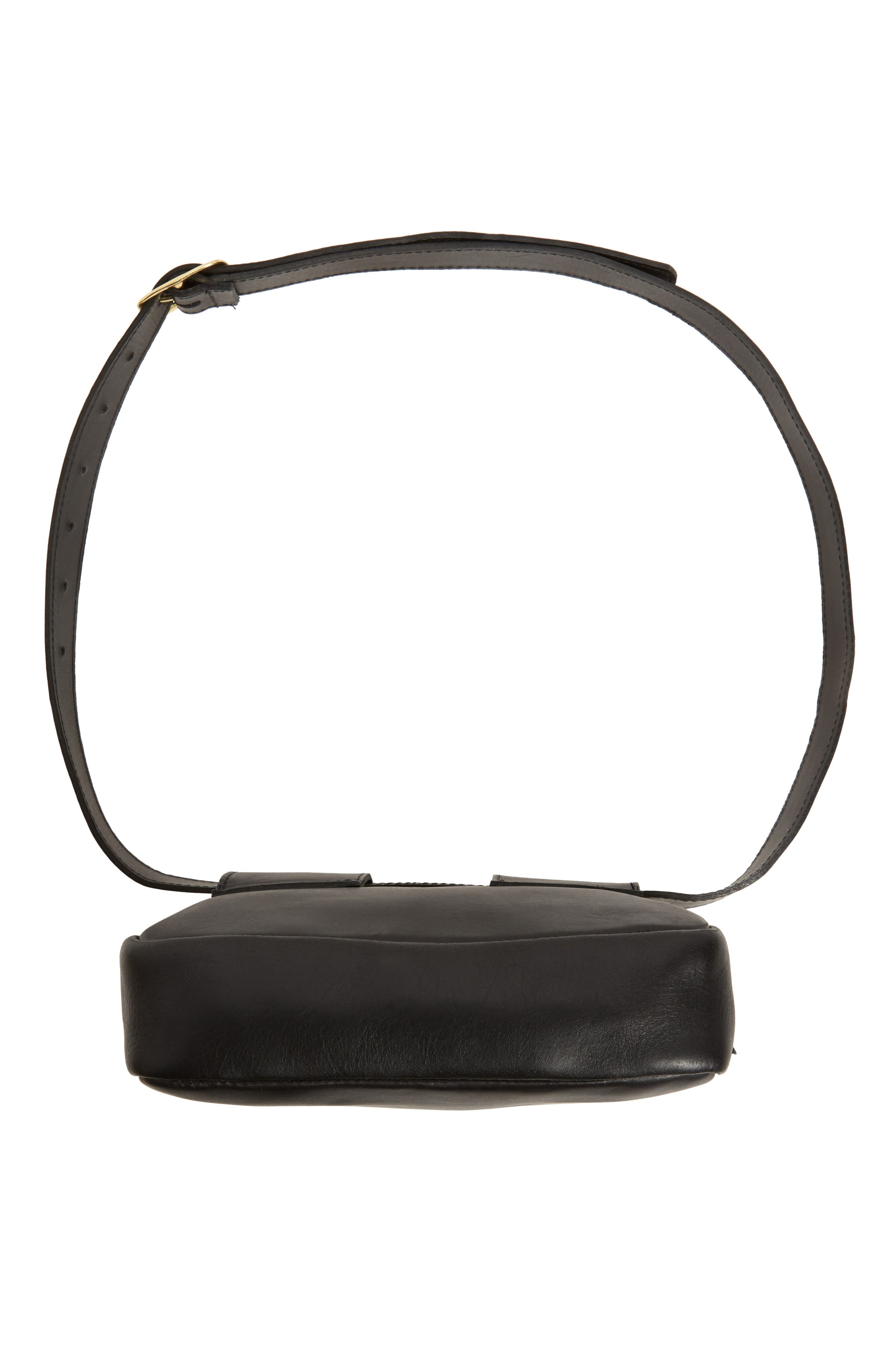 CLARE V.,                             Le Belt Leather Convertible Crossbody Bag,                             Alternate thumbnail 8, color,                             BLACK VEGAN