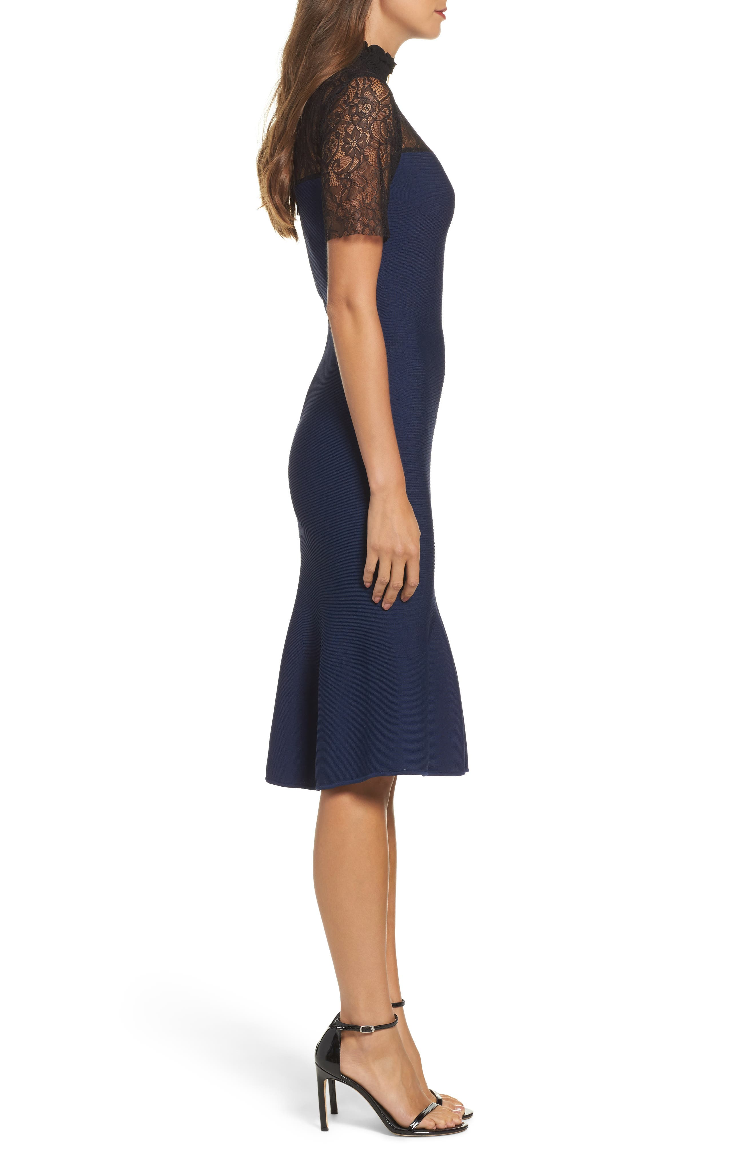 Noir Deena Fit & Flare Dress,                             Alternate thumbnail 3, color,                             410