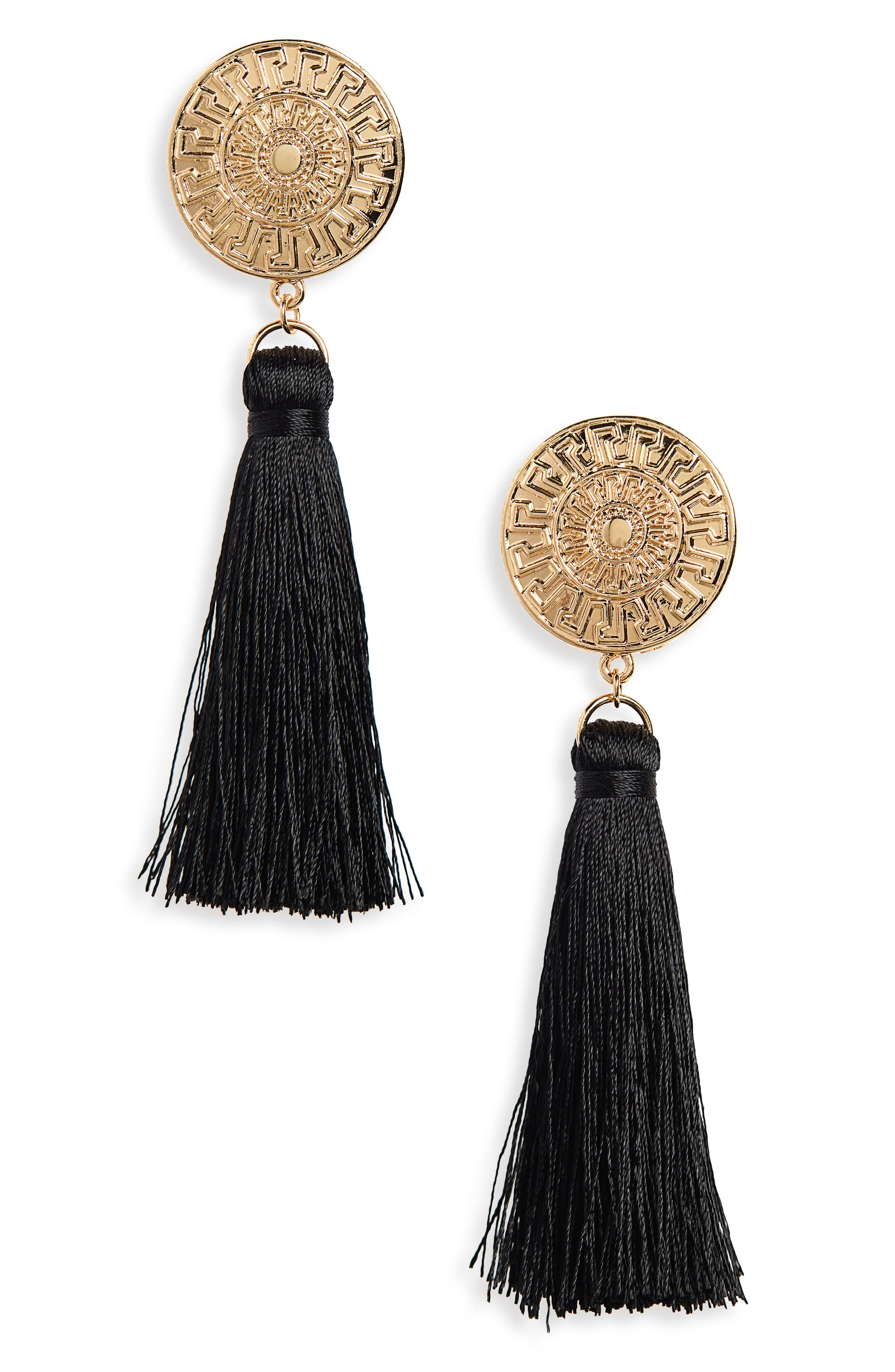 Golden Coin Tassel Earrings,                             Main thumbnail 1, color,                             710