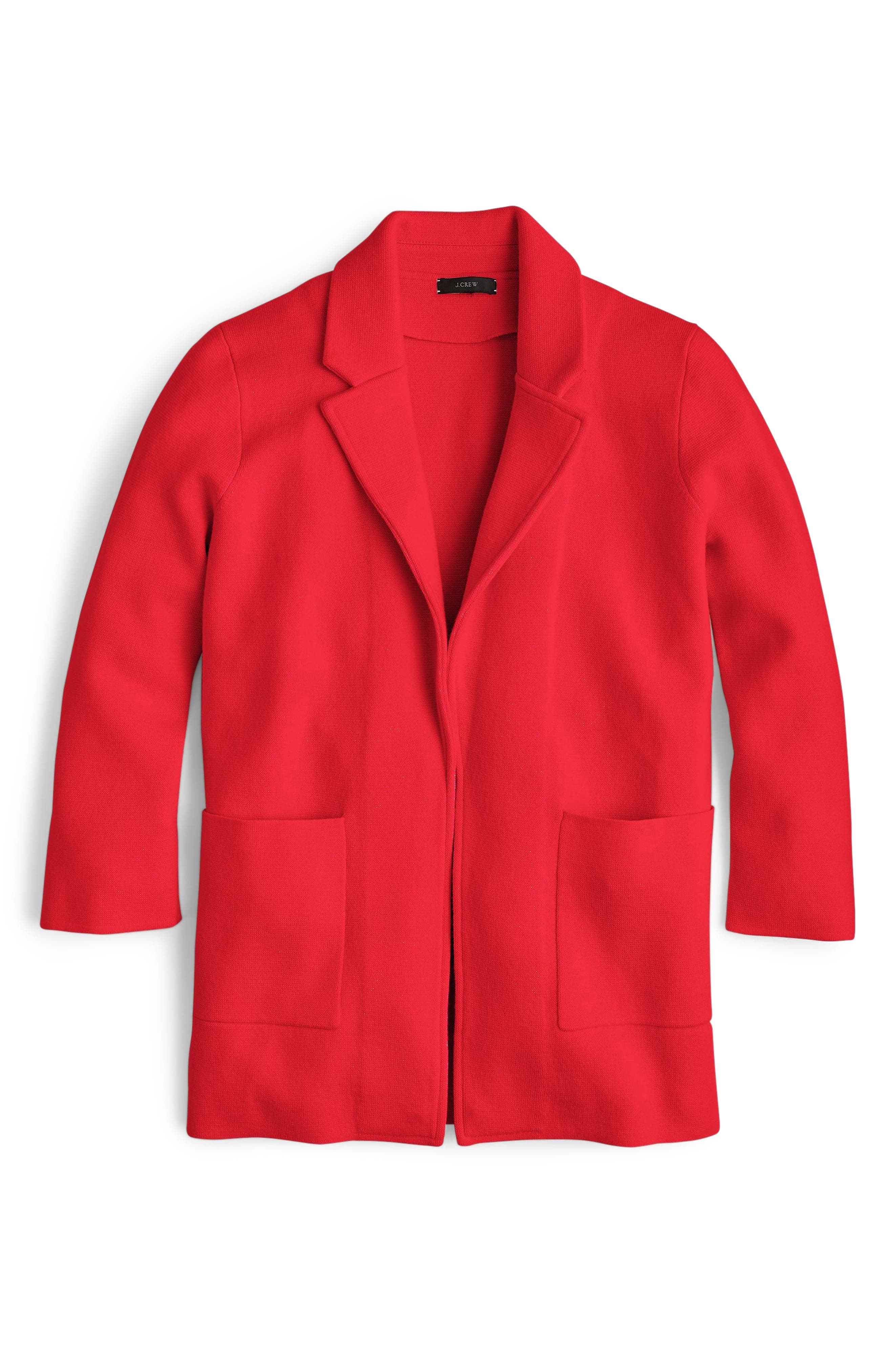 New Lightweight Sweater Blazer,                             Alternate thumbnail 5, color,                             BRIGHT CERISE