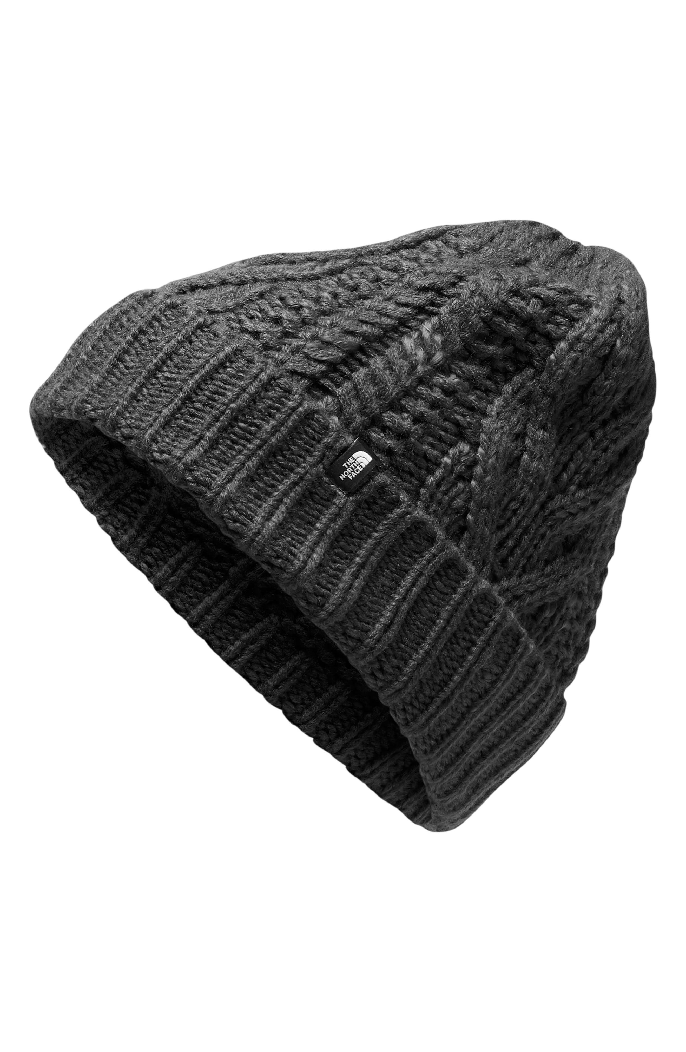 Minna Cable Knit Beanie,                         Main,                         color, TNF BLACK