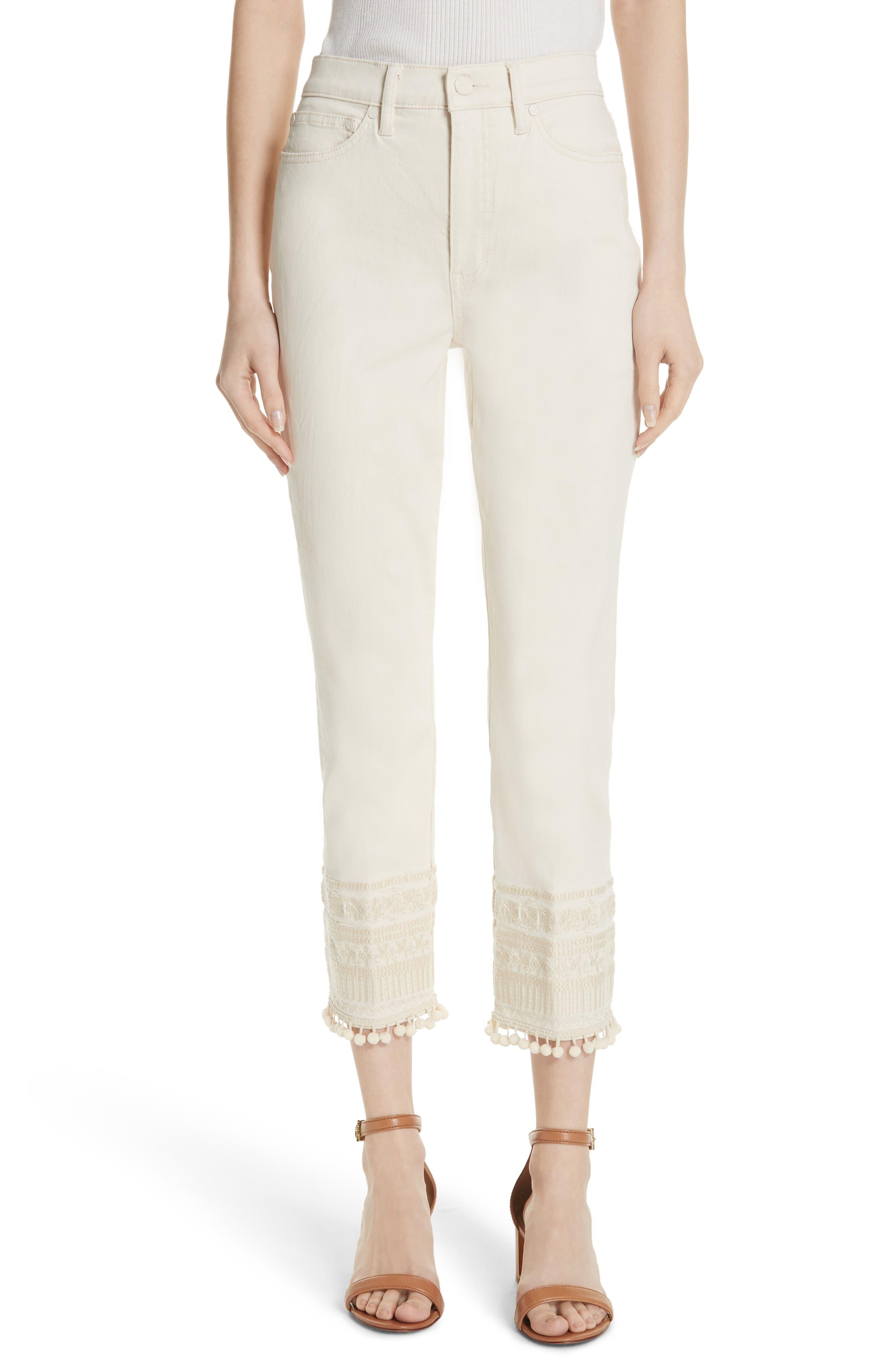 Lana Embellished Hem Jeans,                             Main thumbnail 1, color,                             104