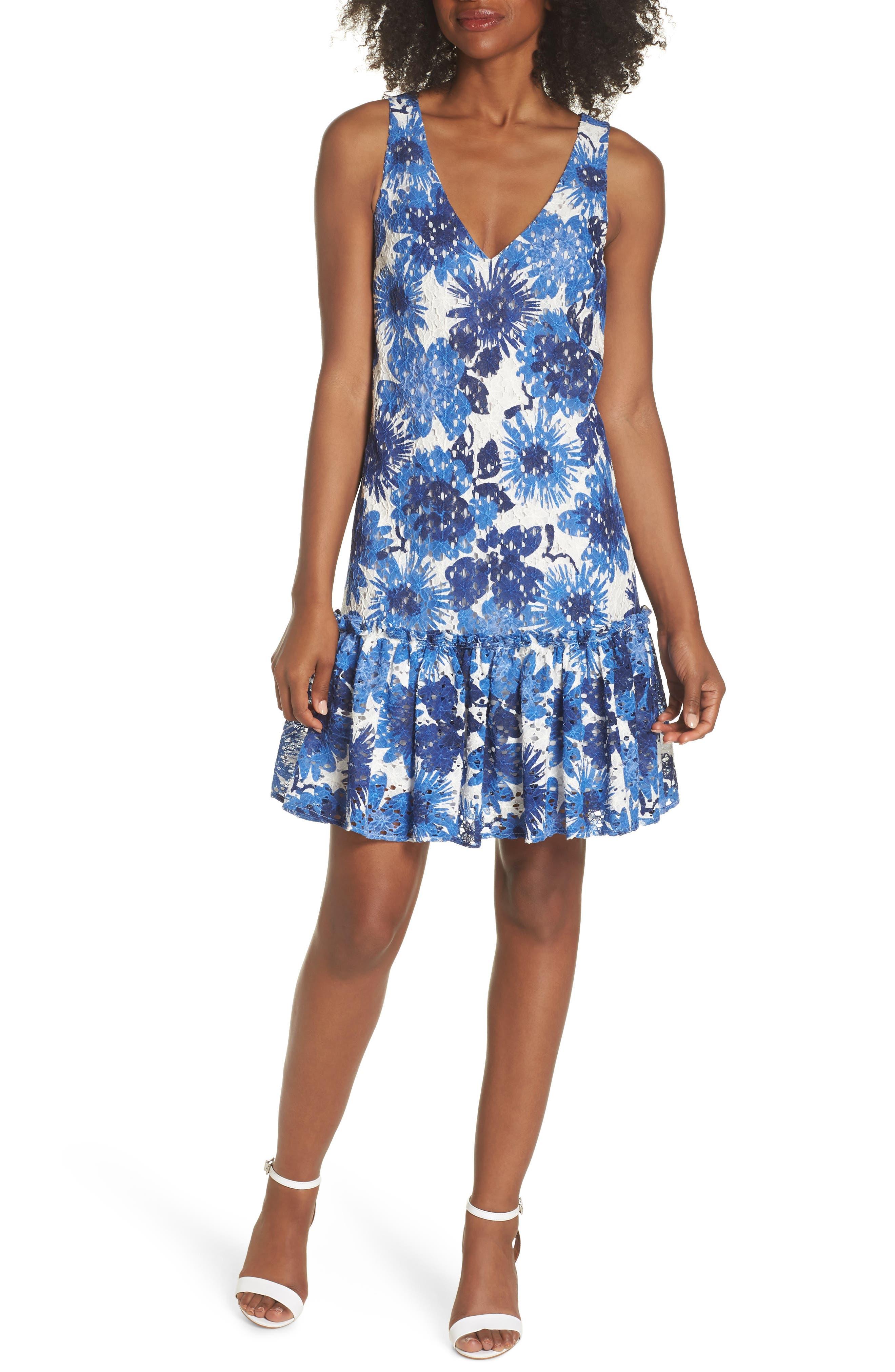 La Costa Print Ruffle Hem Lace Dress,                             Main thumbnail 1, color,                             MULTI